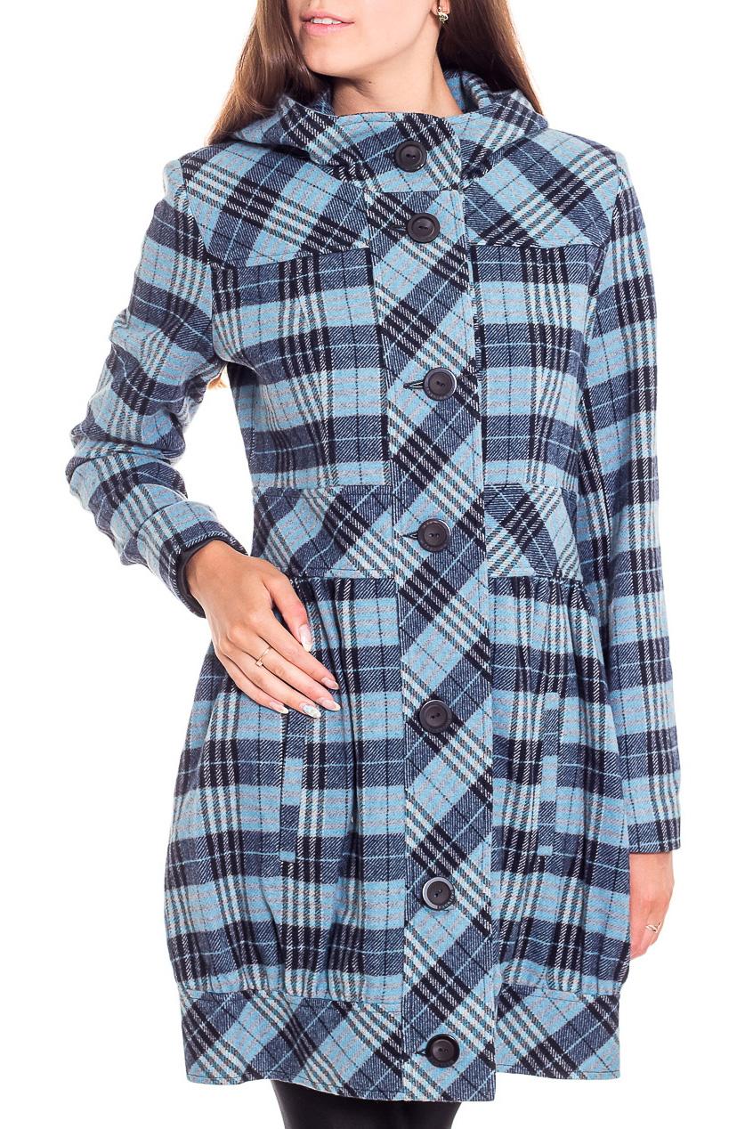 ПальтоПальто<br>Демисезонное пальто полуприталенного силуэта. Модель выполнена из приятного материала. Отличный выбор для повседневного гардероба.  В изделии использованы цвета: голубой, синий, черный и др.  Рост девушки-фотомодели 170 см.<br><br>Воротник: Стойка<br>Застежка: С пуговицами<br>По длине: До колена<br>По материалу: Пальтовая ткань,Шерсть<br>По образу: Город<br>По рисунку: С принтом,Цветные,В клетку<br>По силуэту: Полуприталенные<br>По стилю: Повседневный стиль<br>По элементам: С капюшоном,С карманами<br>Рукав: Длинный рукав<br>По сезону: Осень,Весна<br>Размер : 42,44,46<br>Материал: Пальтовая ткань<br>Количество в наличии: 6