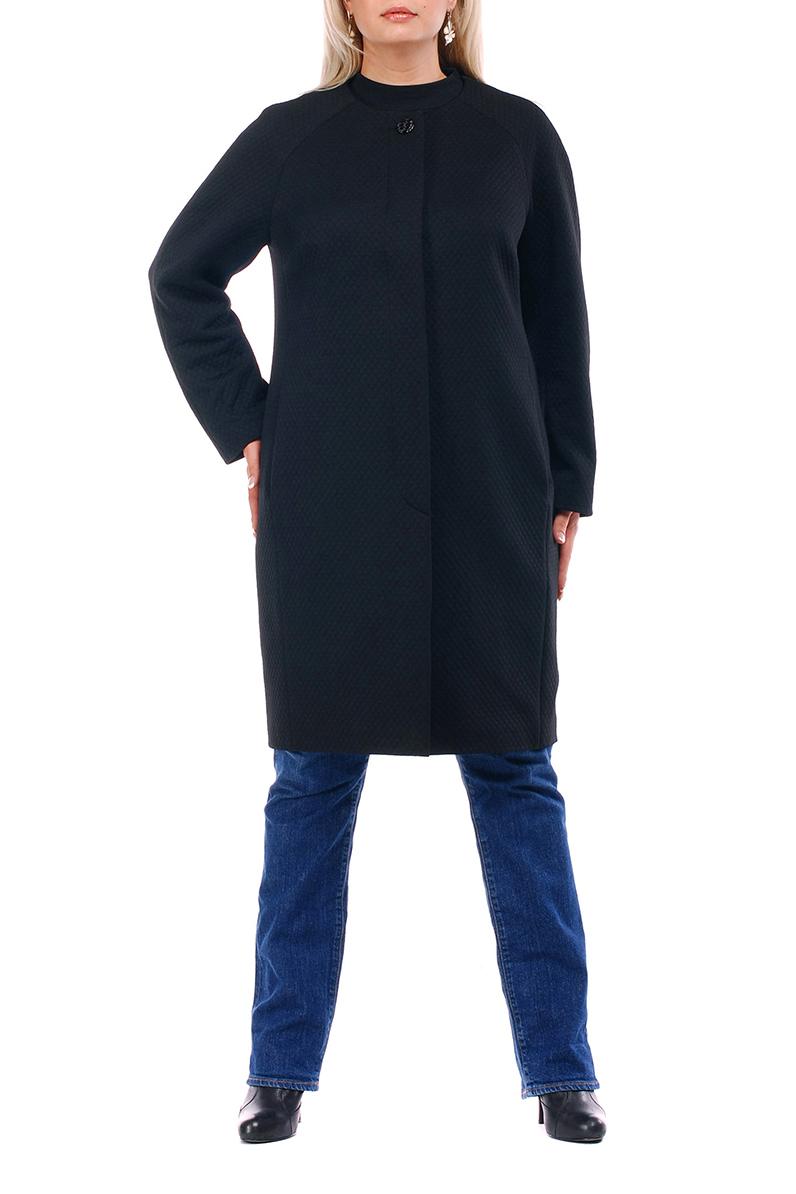 ПальтоПальто<br>Лаконичное пальто с длинными рукавами и застежкой на пуговицы. Модель выполнена из плотного трикотажа с фактурой. Отличный выбор для повседневного и делового гардероба.  Цвет: черный  Рост девушки-фотомодели 173 см.<br><br>Воротник: Стойка<br>Застежка: С пуговицами<br>По длине: До колена<br>По материалу: Трикотаж<br>По рисунку: Однотонные<br>По силуэту: Прямые<br>По стилю: Классический стиль,Офисный стиль,Повседневный стиль<br>По элементам: С карманами<br>Рукав: Длинный рукав<br>По сезону: Осень,Весна<br>Размер : 52,54<br>Материал: Трикотаж<br>Количество в наличии: 8