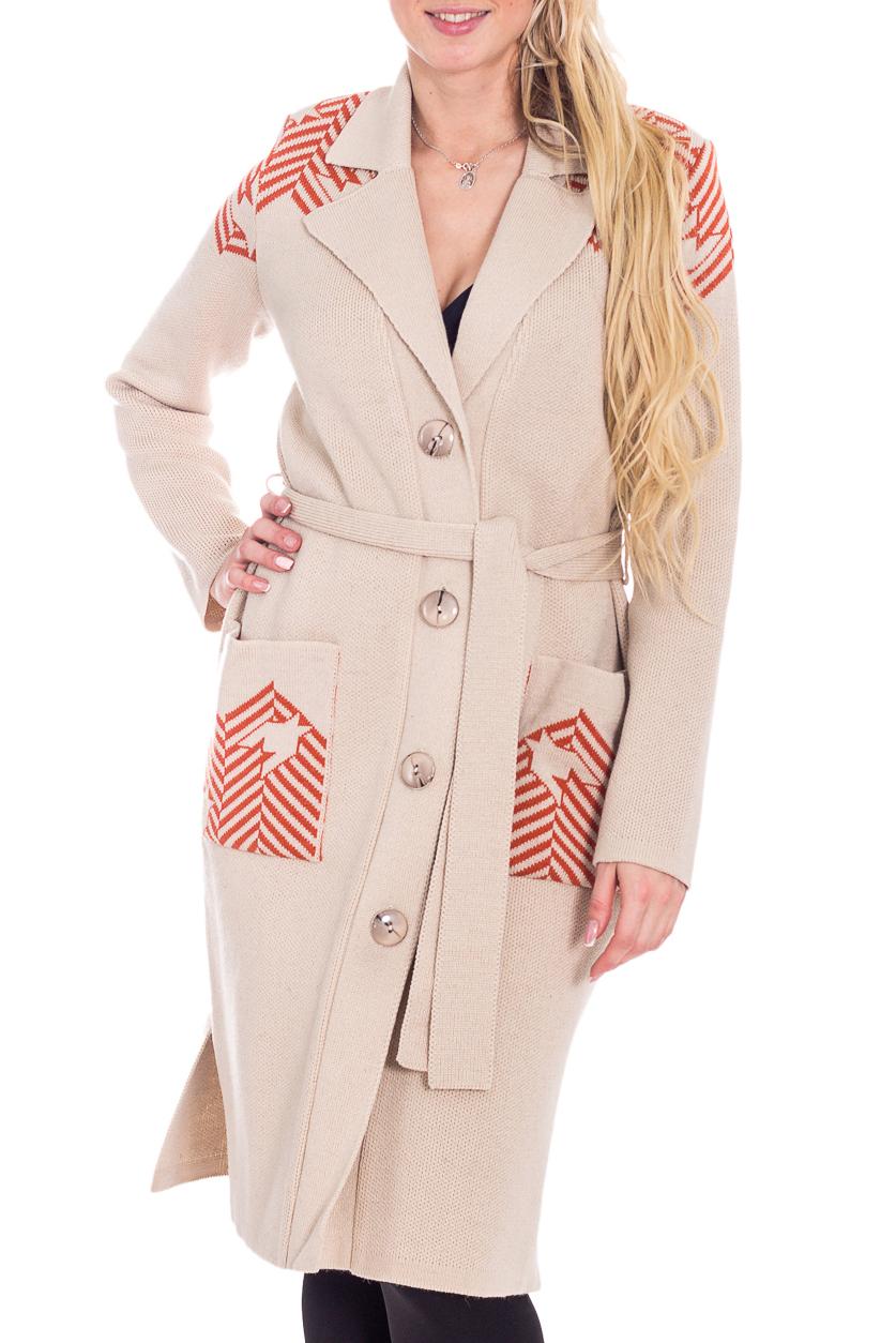 ПальтоКардиганы<br>Теплое вязаное пальто. Модель выполнена из вязаного трикотажа с застежкой на пуговицы. Вязаный трикотаж - это красота, тепло и комфорт. В вязаных вещах очень легко оставаться женственной и в то же время не замёрзнуть. Пальто без пояса.  В изделии использованы цвета: бежевый, коричневый  Рост девушки-фотомодели 170 см.<br><br>Воротник: Отложной<br>Горловина: V- горловина<br>Застежка: С пуговицами<br>По длине: Удлиненные<br>По материалу: Вязаные,Трикотаж<br>По рисунку: С принтом,Цветные<br>По силуэту: Полуприталенные<br>По стилю: Повседневный стиль<br>По элементам: С карманами<br>Рукав: Длинный рукав<br>По сезону: Зима<br>Размер : 44,48<br>Материал: Вязаное полотно<br>Количество в наличии: 2