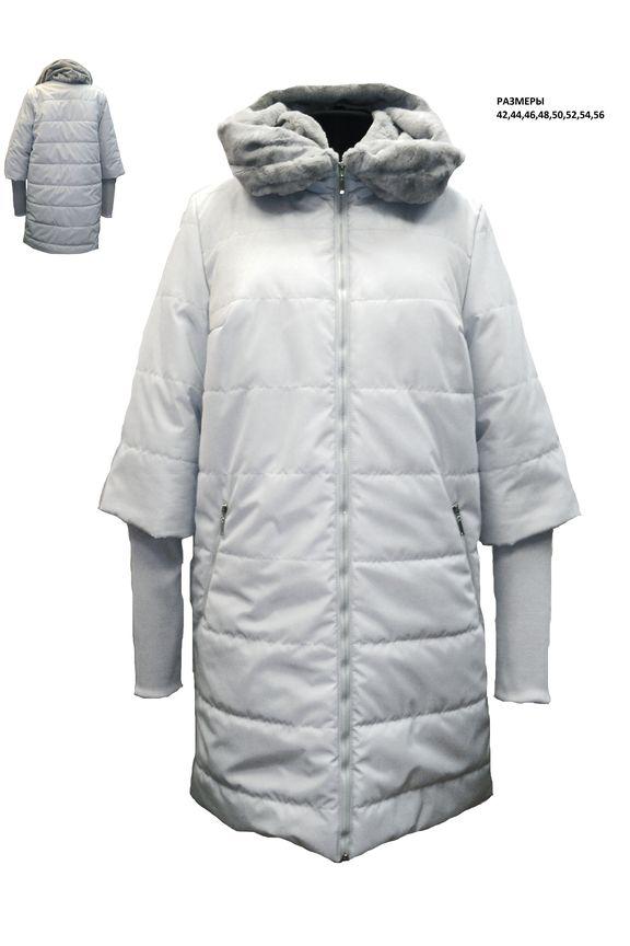 ПальтоКуртки<br>Зимнее пальто прямого силуэта, длинной до колена, с карманами, застежка на молнию. Модель с трикотажными манжетами.  Цвет: белый  Рост девушки-фотомодели 180 см<br><br>Застежка: С молнией<br>По длине: Средней длины<br>По материалу: Тканевые<br>По рисунку: Однотонные<br>По сезону: Осень,Зима<br>По силуэту: Прямые<br>По стилю: Повседневный стиль<br>По элементам: С карманами<br>Рукав: Длинный рукав<br>Размер : 42,46,48,54,56<br>Материал: Болонья<br>Количество в наличии: 5