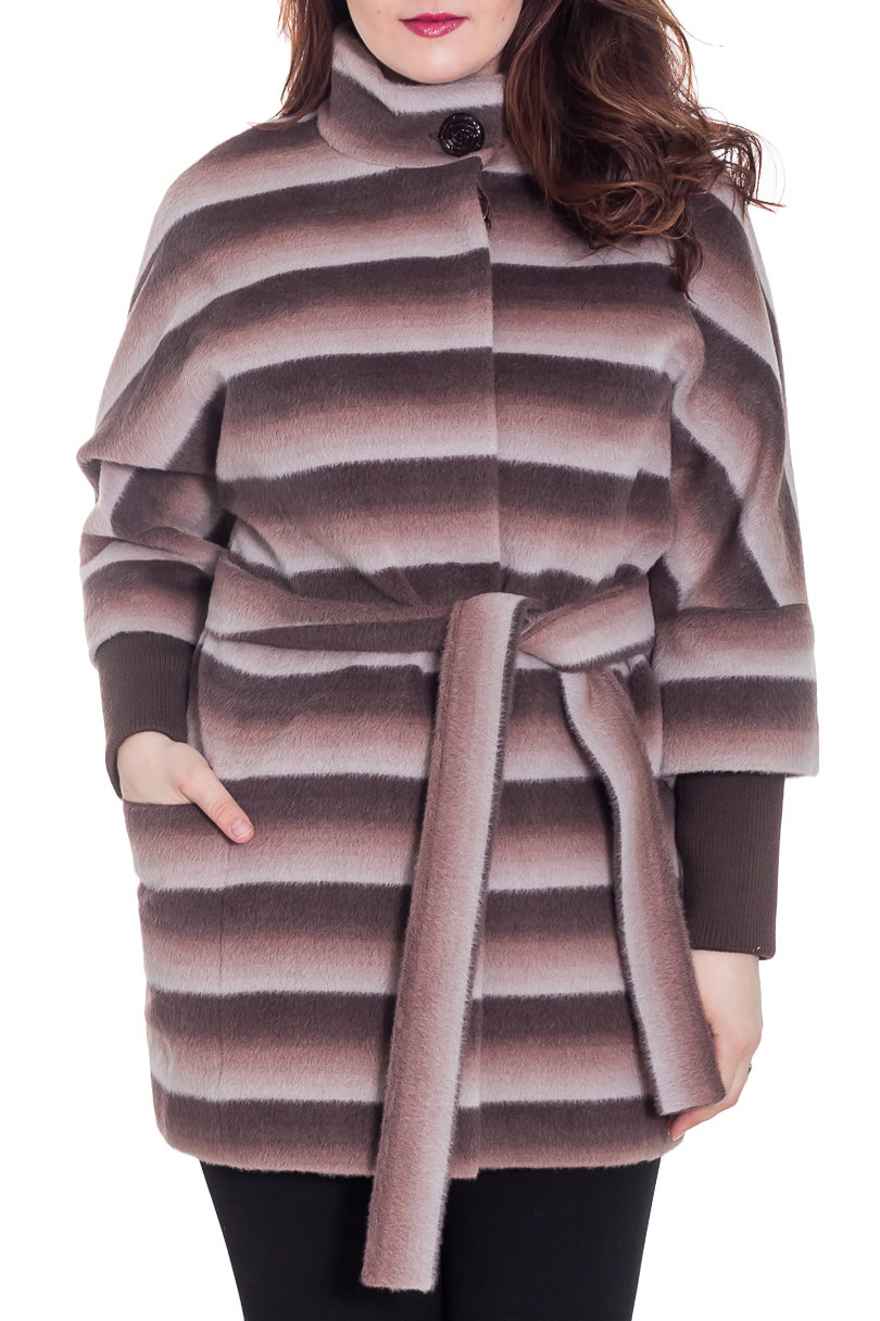 ПальтоПальто<br>Демисезонное пальто свободного силуэта с рукавами 3/4 и трикотажной манжетой, длинной выше колена, застежка на пуговицы. Пальто без пояса.  Цвет: коричневый, бежевый, белый  Ростовка изделия 170 см.  Рост девушки-фотомодели 180 см<br><br>Воротник: Стойка<br>Застежка: С пуговицами<br>По длине: До колена<br>По материалу: Пальтовая ткань,Шерсть<br>По рисунку: В полоску,С принтом,Цветные<br>По силуэту: Свободные<br>По стилю: Повседневный стиль<br>По элементам: С карманами<br>Рукав: Рукав три четверти<br>По сезону: Осень,Весна<br>Размер : 48<br>Материал: Пальтовая ткань<br>Количество в наличии: 1