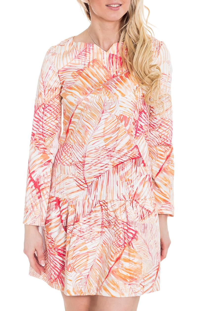 ПлатьеПлатья<br>Прямое платье-футляр с заниженной талией и длинными рукавами. Свободное в талии, обтягивающее в бёдрах и с юбкой в меру пышной, с воланами, платье смотрится очень красиво и женственно. Оно выглядит весьма оригинально и соответствует модному сегодня ретро-стилю.  Цвет: белый, коралловый, оранжевый  Рост девушки-фотомодели 170 см.<br><br>По длине: До колена<br>По материалу: Тканевые,Хлопок<br>По образу: Город,Свидание<br>По рисунку: С принтом,Цветные,Растительные мотивы<br>По силуэту: Полуприталенные<br>По стилю: Повседневный стиль<br>По форме: Платье - трапеция<br>Рукав: Длинный рукав<br>По сезону: Осень,Весна,Зима<br>Горловина: Фигурная горловина<br>Размер : 42,46<br>Материал: Плательная ткань<br>Количество в наличии: 2