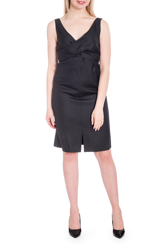 ПлатьеПлатья<br>Отличный вариант маленького черного платья. Модель выполнена из приятного материала. Прекрасный вариант для любого случая.  В изделии использованы цвета: темно-серый  Рост девушки-фотомодели 170 см.<br><br>Горловина: V- горловина,Запах<br>По длине: До колена<br>По материалу: Костюмные ткани,Тканевые<br>По рисунку: Однотонные<br>По сезону: Всесезон,Зима,Лето,Осень,Весна<br>По силуэту: Приталенные<br>По стилю: Классический стиль,Офисный стиль,Повседневный стиль<br>По форме: Платье - футляр<br>По элементам: С декором,С разрезом<br>Разрез: Короткий<br>Рукав: Без рукавов<br>Размер : 44,46<br>Материал: Костюмная ткань<br>Количество в наличии: 2