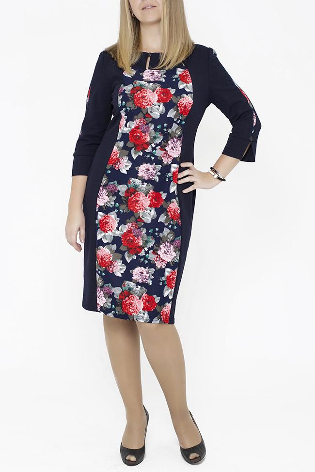 ПлатьеПлатья<br>Очень женственное платье из комбинированных тканей, однотонные бочки по полочке и однотонные крайние части рукава которого делают фигуру очень изящной. Очень интересный элемент отделки по горловине поможет стать этому платью изюминкой в гардеробе любой элегантной женщины.   В изделии использованы цвета: синий, красный, серый, белый и др.  Параметры размеров: 44 размер - обхват груди 84 см., обхват талии 72 см., обхват бедер 97 см. 46 размер - обхват груди 92 см., обхват талии 76 см., обхват бедер 100 см. 48 размер - обхват груди 96 см., обхват талии 80 см., обхват бедер 103 см. 50 размер - обхват груди 100 см., обхват талии 84 см., обхват бедер 106 см. 52 размер - обхват груди 104 см., обхват талии 88 см., обхват бедер 109 см. 54 размер - обхват груди 110 см., обхват талии 94,5 см., обхват бедер 114 см. 56 размер - обхват груди 116 см., обхват талии 101 см., обхват бедер 119 см. 58 размер - обхват груди 122 см., обхват талии 107,5 см., обхват бедер 124 см. 60 размер - обхват груди 128 см., обхват талии 114 см., обхват бедер 129 см.  Ростовка изделия 168 см.<br><br>Горловина: С- горловина<br>По длине: Ниже колена<br>По материалу: Трикотаж<br>По образу: Город,Свидание<br>По рисунку: Растительные мотивы,С принтом,Цветные,Цветочные<br>По силуэту: Приталенные<br>По стилю: Повседневный стиль<br>По форме: Платье - футляр<br>По элементам: С декором,С разрезом<br>Разрез: Короткий,Шлица<br>Рукав: Рукав три четверти<br>По сезону: Осень,Весна<br>Размер : 48,50,52,54<br>Материал: Трикотаж<br>Количество в наличии: 6