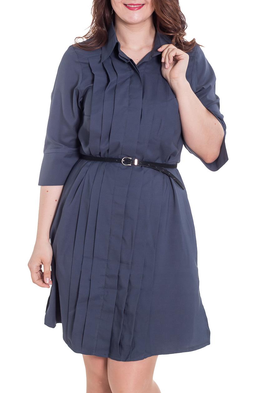 ПлатьеПлатья<br>Замечательное женское платье-рубашка прямого силуэта. Модель выполнена из приятного материала. Отличный выбор для повседневного гардероба. Платье без пояса.  Цвет: синий  Рост девушки-фотомодели 180 см<br><br>Воротник: Рубашечный<br>По длине: До колена<br>По материалу: Тканевые<br>По образу: Город,Офис,Свидание<br>По рисунку: Однотонные<br>По сезону: Лето,Осень,Весна<br>По силуэту: Полуприталенные<br>По стилю: Офисный стиль,Повседневный стиль<br>По форме: Платье - рубашка<br>По элементам: С декором,Со складками<br>Рукав: Рукав три четверти<br>Размер : 48-50<br>Материал: Плательная ткань<br>Количество в наличии: 1