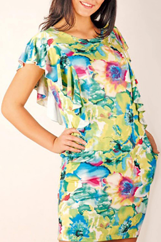ПлатьеПлатья<br>Элегантное женское платье из мягкой вискозы для прекрасных дам.<br><br>Горловина: С- горловина<br>По рисунку: Растительные мотивы,Цветные,С принтом<br>По сезону: Лето<br>По элементам: С декором,С воланами и рюшами<br>Рукав: Короткий рукав<br>По материалу: Вискоза,Трикотаж<br>По форме: Платье - футляр<br>По стилю: Повседневный стиль,Летний стиль<br>По длине: До колена<br>По силуэту: Приталенные<br>Размер : 44<br>Материал: Вискоза<br>Количество в наличии: 2