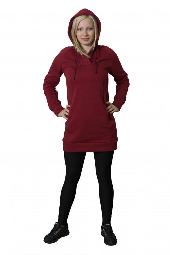 ПлатьеПлатья<br>Женское платье с капюшоном и длинными рукавами. Модель выполнена из мягкого футера. Отличный выбор для повседневного гардероба и активного отдыха.  Цвет: бордовый<br><br>По длине: До колена<br>По материалу: Трикотаж,Хлопок<br>По рисунку: Однотонные<br>По силуэту: Полуприталенные<br>По элементам: С карманами,С капюшоном,С манжетами<br>Рукав: Длинный рукав<br>По сезону: Осень,Зима<br>По стилю: Молодежный стиль,Повседневный стиль,Спортивный стиль<br>По форме: Платье - баллон<br>Размер : 42,44<br>Материал: Трикотаж<br>Количество в наличии: 3