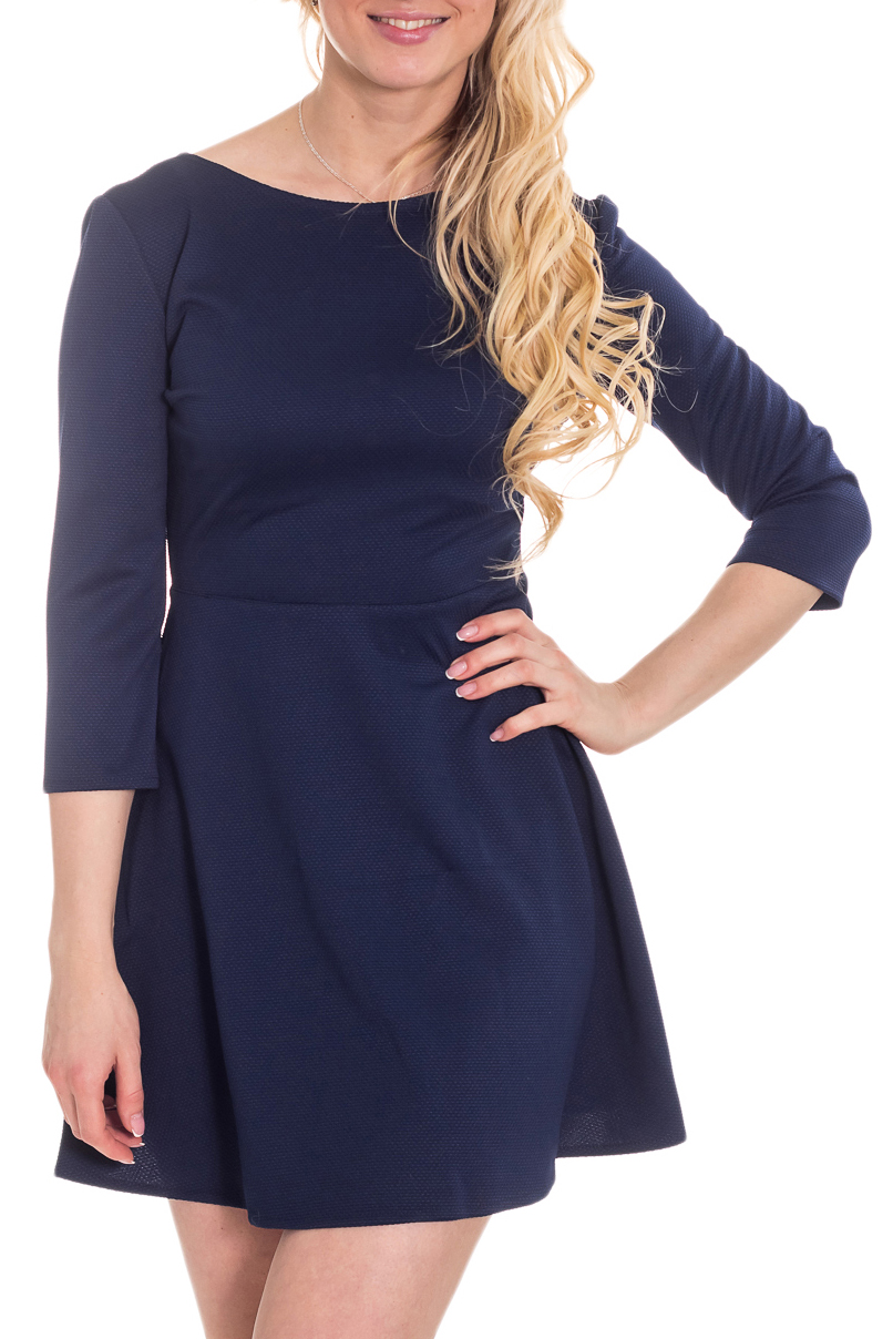 ПлатьеПлатья<br>Элегантное и женственное платье, которое подойдет любому типу фигуры, выполненное из приятного телу трикотажа.  Цвет: темно-синий.  Рост девушки-фотомодели 170 см<br><br>Горловина: С- горловина<br>По длине: Мини<br>По материалу: Трикотаж<br>По рисунку: Однотонные<br>По силуэту: Полуприталенные,Приталенные<br>По стилю: Повседневный стиль<br>По форме: Беби - долл,Платье - трапеция<br>Рукав: Рукав три четверти<br>По сезону: Осень,Весна,Зима<br>Размер : 44,46,48<br>Материал: Трикотаж<br>Количество в наличии: 3