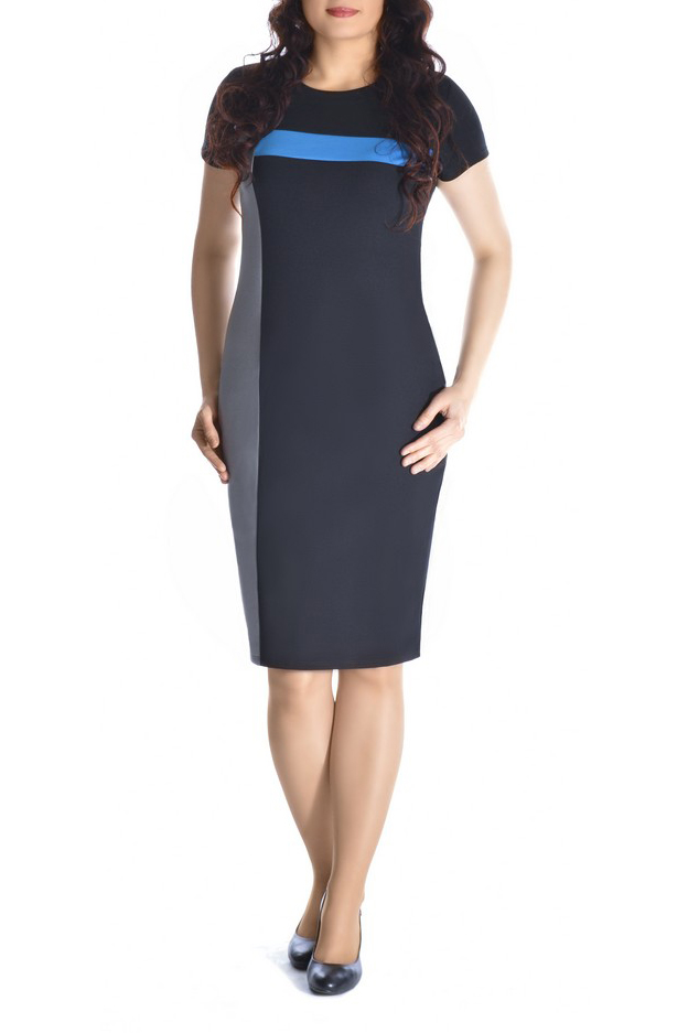 ПлатьеПлатья<br>Повседневное и в тоже время элегантное платье-футляр. Контрастные вставки платья подчеркивают силуэт. Рукав короткий. Вырез горловины округлый.   В изделии использованы цвета: черный, серый, голубой и др.  Рост девушки-фотомодели 170 см<br><br>Горловина: С- горловина<br>По длине: До колена<br>По материалу: Вискоза,Трикотаж<br>По рисунку: Цветные<br>По стилю: Повседневный стиль<br>Рукав: Короткий рукав<br>По силуэту: Приталенные<br>По форме: Платье - футляр<br>По сезону: Осень,Весна,Зима<br>Размер : 46,48,50,52<br>Материал: Трикотаж<br>Количество в наличии: 8