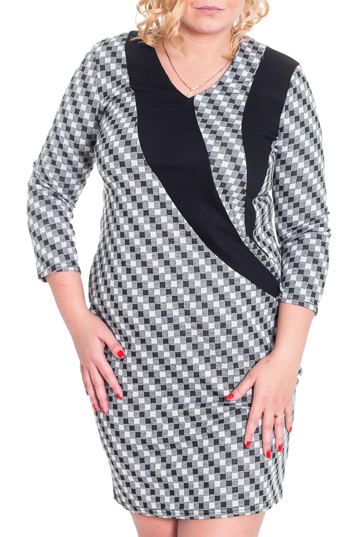 ПлатьеПлатья<br>Красивое платье с рукавами 3/4 и V-образной горловиной. Модель выполнена из приятного трикотажа. Отличный выбор для повседневного гардероба.  Цвет: серый, черный, белый  Рост девушки-фотомодели 170 см.<br><br>Горловина: V- горловина<br>По длине: До колена<br>По материалу: Вискоза,Трикотаж<br>По рисунку: Геометрия,С принтом,Цветные<br>По сезону: Весна,Осень,Зима<br>По силуэту: Приталенные<br>По стилю: Офисный стиль,Повседневный стиль<br>По форме: Платье - футляр<br>Рукав: Рукав три четверти<br>Размер : 48<br>Материал: Джерси<br>Количество в наличии: 1