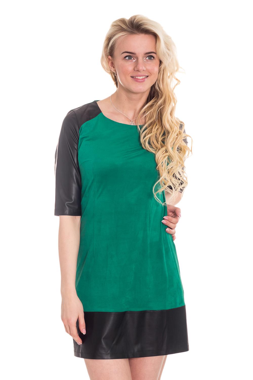 ПлатьеПлатья<br>Великолепное женское платье, которое станет идеальным дополнением к Вашему повседневному гардеробу.  Цвет: черный, зеленый.  Рост девушки-фотомодели 170 см<br><br>По образу: Свидание,Город<br>По стилю: Офисный стиль,Повседневный стиль,Классический стиль,Кэжуал<br>По материалу: Кожа,Трикотаж<br>По рисунку: Цветные<br>По сезону: Осень,Весна<br>По силуэту: Полуприталенные<br>По элементам: С кожаными вставками,С декором<br>По форме: Платье - трапеция<br>По длине: До колена<br>Рукав: Рукав три четверти<br>Горловина: С- горловина<br>Размер: 42,44,46,48,50,52<br>Материал: 50% вискоза 50% полиэстер<br>Количество в наличии: 5