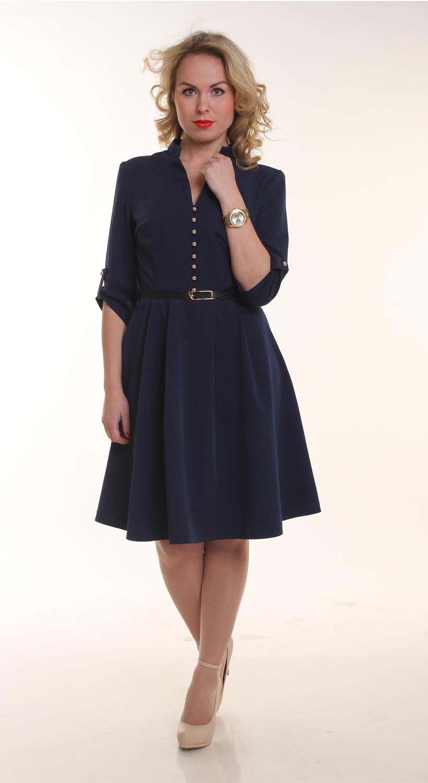 ПлатьеПлатья<br>Восхитительное платье с V-образной горловиной и рукавами 3/4. Модель выполнена из приятного материала. Отличный выбор для повседневного и делового гардероба. Платье без пояса   Цвет: синий  Длина изделия 92 см  Длина рукава 37 см   Рост девушки-фотомодели 161 см<br><br>Горловина: V- горловина<br>По длине: До колена<br>По материалу: Вискоза,Тканевые<br>По образу: Город,Офис,Свидание<br>По рисунку: Однотонные<br>По сезону: Весна,Осень<br>По силуэту: Полуприталенные<br>По стилю: Офисный стиль,Повседневный стиль<br>По форме: Беби - долл<br>По элементам: С декором,С отделочной фурнитурой,С патами<br>Рукав: Рукав три четверти<br>Размер : 44,46,48,50,52,54<br>Материал: Костюмно-плательная ткань<br>Количество в наличии: 1