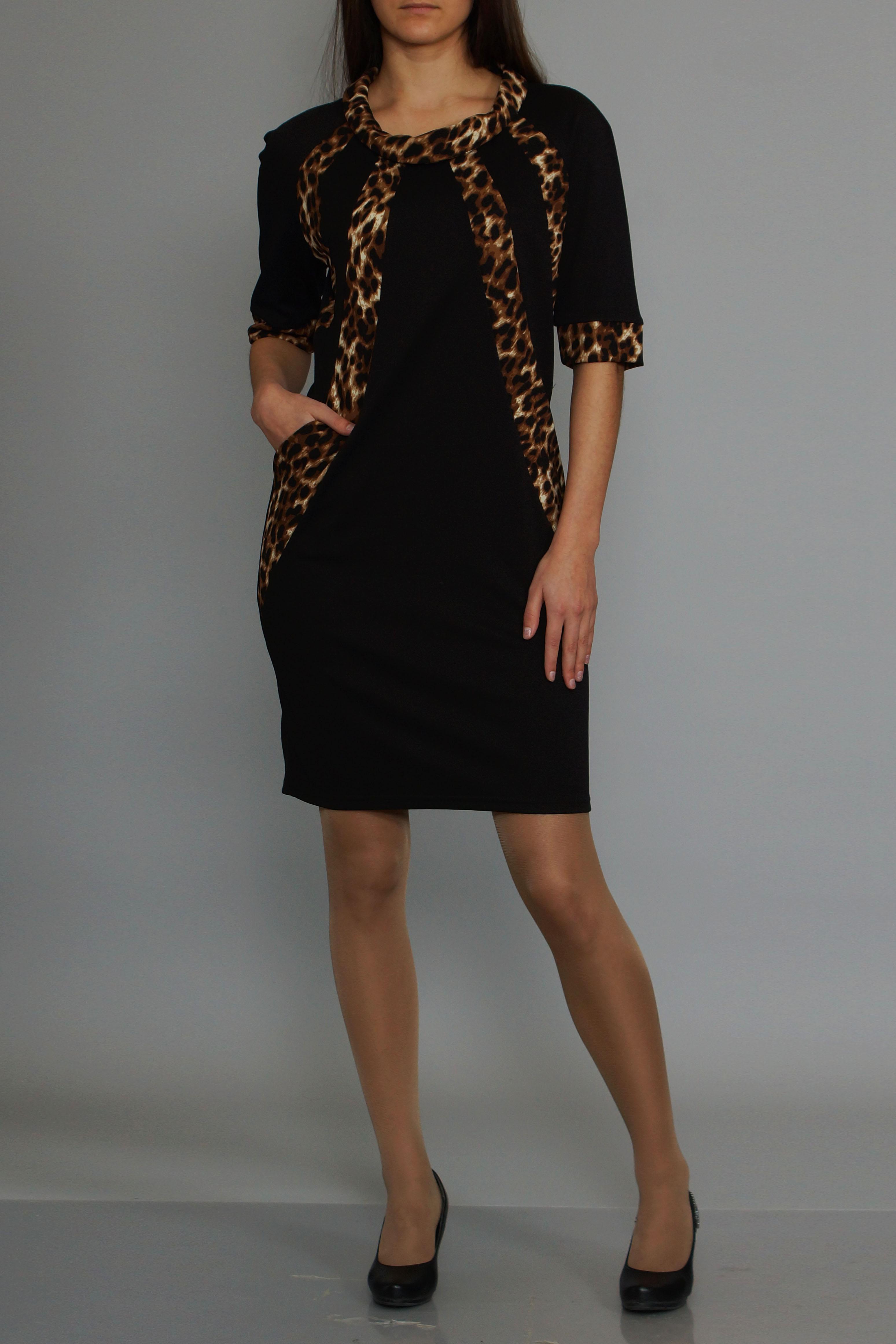 ПлатьеПлатья<br>Эффектное платье с леопардовыми вставками. Модель выполнена из приятного материала. Отличный выбор для повседневного гардероба.   В изделии использованы цвета: черный, бежевый др.  Ростовка изделия 170 см.<br><br>Воротник: Хомут<br>По длине: До колена<br>По материалу: Вискоза,Трикотаж<br>По рисунку: Леопард,С принтом,Цветные<br>По силуэту: Полуприталенные<br>По стилю: Повседневный стиль<br>По форме: Платье - футляр<br>Рукав: До локтя<br>По сезону: Осень,Весна,Зима<br>Размер : 44,46<br>Материал: Трикотаж<br>Количество в наличии: 2