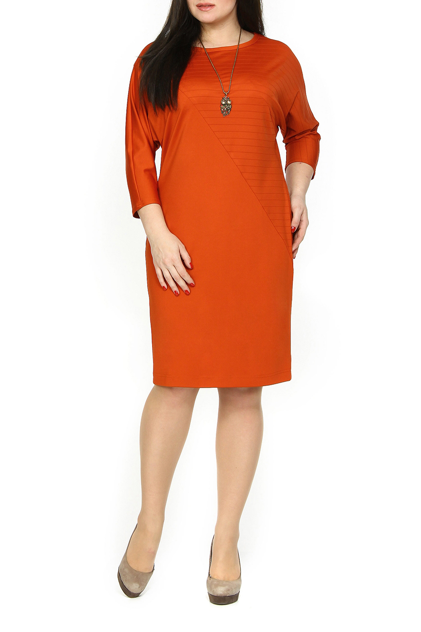 ПлатьеПлатья<br>Однотонное платье с круглой горловиной и рукавами 3/4. Модель выполнена из приятного материала. Отличный выбор для любого случая.  Цвет: оранжевый  Ростовка изделия 170 см.<br><br>Горловина: С- горловина<br>По длине: Ниже колена<br>По материалу: Трикотаж<br>По рисунку: Однотонные<br>По силуэту: Приталенные<br>По стилю: Повседневный стиль<br>По форме: Платье - футляр<br>Рукав: Рукав три четверти<br>По сезону: Осень,Весна,Зима<br>Размер : 48,50,52<br>Материал: Трикотаж<br>Количество в наличии: 3