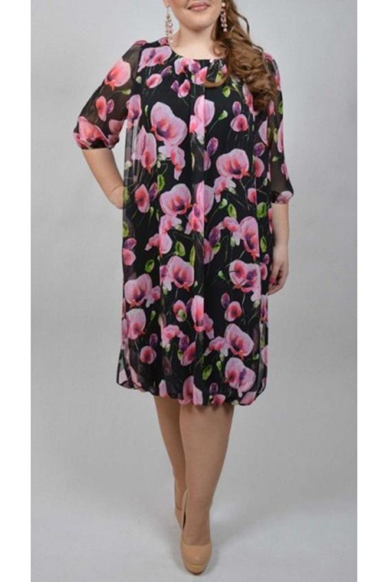 ПлатьеПлатья<br>Легкое шифоновое платье - это идеальная модель для полных женщин. Силуэт с округлым вырезом, рукав до локтя, выполнен из легкого французского шифона и однотонного трикотажа.  Длина изделия по спинке:  52 размер - 98 см  60 размер - 104 см  66 размер - 108 см Ткань: шифон принтованный + трикотаж однотонный Платье без пояса.  В изделии использованы цвета: черный, розовый, зеленый  Ростовка изделия 170 см.<br><br>Горловина: С- горловина<br>По длине: Ниже колена<br>По материалу: Шифон<br>По образу: Город,Свидание<br>По рисунку: Растительные мотивы,С принтом,Цветные,Цветочные<br>По сезону: Весна,Зима,Лето,Осень,Всесезон<br>По силуэту: Полуприталенные<br>По стилю: Нарядный стиль,Повседневный стиль<br>Рукав: Рукав три четверти<br>Размер : 52<br>Материал: Шифон<br>Количество в наличии: 1