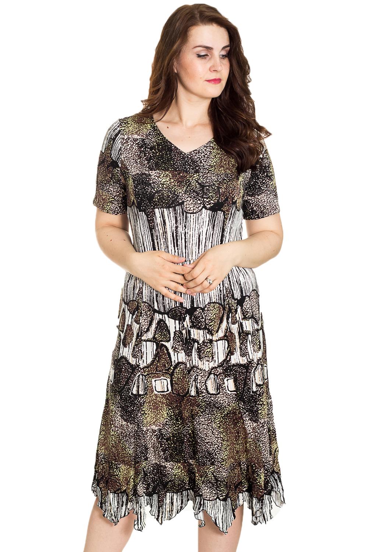 ПлатьеПлатья<br>Цветное платье с V-образной горловиной и короткими рукавами. Модель выполнена из мягкой вискозы. Отличный выбор для повседневного гардероба.  Цвет: белый, черный, коричневый, зеленый  Рост девушки-фотомодели 180 см<br><br>Горловина: V- горловина<br>По длине: Ниже колена<br>По материалу: Вискоза,Трикотаж<br>По рисунку: С принтом,Цветные<br>По силуэту: Полуприталенные<br>По стилю: Повседневный стиль<br>По элементам: С фигурным низом<br>Рукав: Короткий рукав<br>По сезону: Лето<br>Размер : 54,58<br>Материал: Трикотаж<br>Количество в наличии: 3