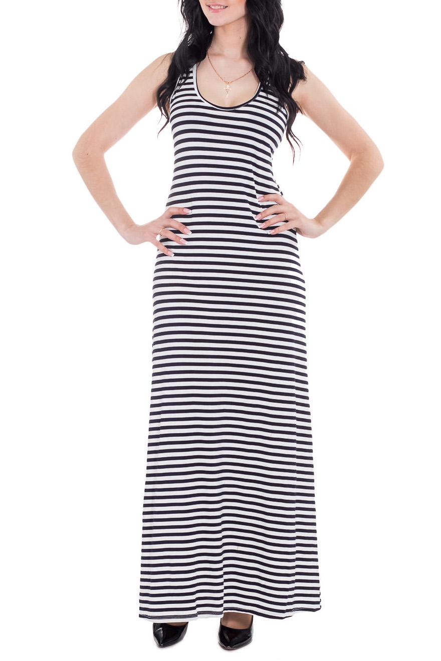 ПлатьеПлатья<br>Повседневное летнее платье в пол. Модель выполнена из приятного трикотажа. Отличный выбор для повседневного гардероба.  Цвет: черный, белый  Рост девушки-фотомодели 170 см<br><br>Горловина: С- горловина<br>По длине: Макси<br>По материалу: Вискоза,Трикотаж<br>По рисунку: В полоску,С принтом,Цветные<br>По силуэту: Полуприталенные<br>По стилю: Летний стиль,Молодежный стиль,Повседневный стиль<br>Рукав: Без рукавов<br>По сезону: Лето<br>Размер : 44,46,48<br>Материал: Трикотаж<br>Количество в наличии: 10