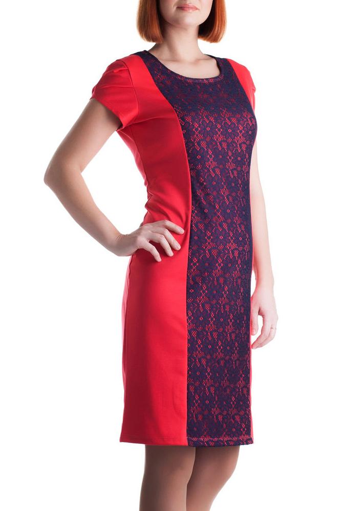 ПлатьеПлатья<br>Нарядное женское платье приталенного силуэта. Короткие рукава. Цвет: красный и синий.<br><br>Горловина: С- горловина<br>По длине: До колена<br>По материалу: Вискоза,Гипюр,Трикотаж<br>По сезону: Весна,Всесезон,Зима,Лето,Осень<br>По силуэту: Приталенные<br>По стилю: Нарядный стиль<br>По форме: Платье - футляр<br>По элементам: С декором<br>Рукав: Короткий рукав<br>По рисунку: Цветные<br>Размер : 48,50<br>Материал: Джерси + Гипюр<br>Количество в наличии: 2