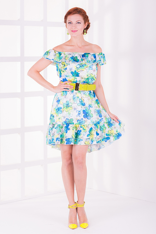 ПлатьеПлатья<br>Женское платье с элегантной горловиной и игривыми воланами. Модель выполнена из приятного материала с цветочным принтом. Отличный выбор для любого случая.  Цвет: белый, голубой, зеленый<br><br>По образу: Город,Свидание,Выход в свет<br>По стилю: Летний стиль,Повседневный стиль,Нарядный стиль,Романтический стиль<br>По материалу: Атлас,Вискоза<br>По рисунку: Растительные мотивы,Цветные,Цветочные<br>По сезону: Осень,Весна,Всесезон,Зима,Лето<br>По силуэту: Полуприталенные<br>По элементам: С воланами и рюшами,С декором,С открытыми плечами<br>По длине: До колена<br>Рукав: Короткий рукав<br>Горловина: Лодочка<br>Размер: 42,44,46,48<br>Материал: None<br>Количество в наличии: 2