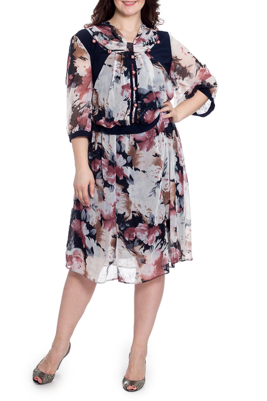 ПлатьеПлатья<br>Красивое платье с интересным декором по переду изделия. Модель выполнена из воздушного шифона. Отличный выбор для любого торжества.  В изделии использованы цвета: молочный, темно-синий, розовый и др.  Рост девушки-фотомодели 180 см.<br><br>Горловина: С- горловина<br>По длине: Ниже колена<br>По материалу: Шифон<br>По рисунку: Растительные мотивы,С принтом,Цветные,Цветочные<br>По сезону: Весна,Зима,Лето,Осень,Всесезон<br>По силуэту: Полуприталенные<br>По стилю: Нарядный стиль<br>По элементам: С декором,С подкладом<br>Рукав: Рукав три четверти<br>Размер : 62<br>Материал: Шифон<br>Количество в наличии: 1