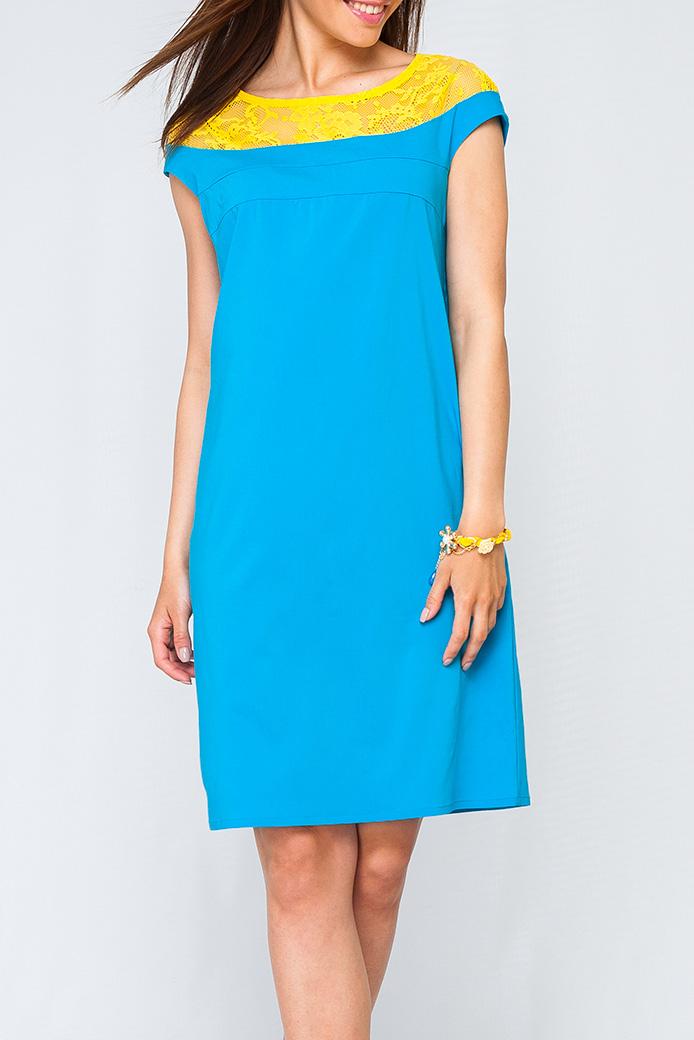 ПлатьеПлатья<br>Женское платье свободного силуэта, сочетание двух видов тканей, платье станет ярким акцентом в Вашем образе.   Параметры изделия:  44 размера: обхват груди - 102 см. обхват по линии бедер - 107 см. длина изделия - 93 см.  52 размера: обхват груди - 118 см. обхват по линии бедер - 123 см. длина изделия - 99 см.  Цвет: голубой, желтый  Рост девушки-фотомодели 170 см<br><br>Горловина: Лодочка<br>По длине: До колена<br>По материалу: Гипюр,Тканевые<br>По рисунку: Цветные<br>По сезону: Весна,Зима,Лето,Осень,Всесезон<br>По силуэту: Прямые<br>По стилю: Нарядный стиль<br>Рукав: Короткий рукав<br>Размер : 42,44,46,50,52<br>Материал: Плательная ткань<br>Количество в наличии: 5