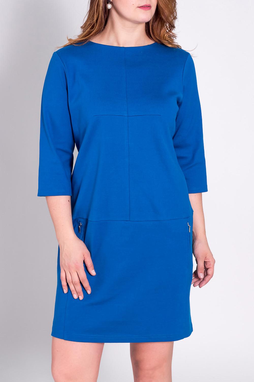 ПлатьеПлатья<br>Замечательное женское платье с круглой горловиной и рукавами 3/4. Модель выполнена из однотонного материала. Отличный вариант для повседневного и делового гардероба.  Цвет: синий  Рост девушки-фотомодели 180 см.<br><br>Горловина: С- горловина<br>По длине: До колена<br>По материалу: Вискоза,Трикотаж<br>По рисунку: Однотонные<br>По сезону: Весна,Осень,Зима<br>По силуэту: Полуприталенные<br>По стилю: Офисный стиль,Повседневный стиль<br>По элементам: С декором,С карманами,С отделочной фурнитурой<br>Рукав: Рукав три четверти<br>Размер : 46<br>Материал: Трикотаж<br>Количество в наличии: 1