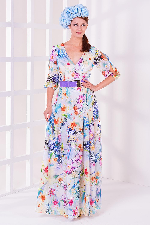 ПлатьеПлатья<br>Женское платье в пол с V-образной горловиной и рукавами до локтя. Модель выполнена из приятного материала с цветочным принтом. Отличный выбор для любого случая.  Цвет: белый, голубой, сиреневый, розовый<br><br>Горловина: V- горловина<br>По длине: Макси<br>По материалу: Вискоза,Шелк,Шифон<br>По образу: Выход в свет,Город,Свидание<br>По рисунку: Растительные мотивы,Цветные,Цветочные<br>По сезону: Весна,Всесезон,Зима,Лето,Осень<br>По силуэту: Полуприталенные<br>По стилю: Летний стиль,Повседневный стиль,Романтический стиль,Нарядный стиль<br>По элементам: С вырезом,С открытыми плечами<br>Рукав: До локтя<br>Размер : 42,44,46,48<br>Материал: Шифон<br>Количество в наличии: 1