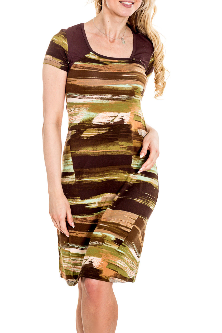 ПлатьеПлатья<br>Цветное платье с короткими рукавами. Модель выполнена из приятного материала. Отличный выбор для повседневного гардероба.  Цвет: бежевый, коричневый, зеленый  Рост девушки-фотомодели 170 см.<br><br>По длине: До колена<br>По материалу: Вискоза,Трикотаж<br>По рисунку: С принтом,Цветные<br>По сезону: Лето,Осень,Весна<br>По силуэту: Полуприталенные<br>По стилю: Повседневный стиль<br>По форме: Платье - футляр<br>По элементам: С карманами<br>Рукав: Короткий рукав<br>Горловина: Фигурная горловина<br>Размер : 44<br>Материал: Вискоза<br>Количество в наличии: 1