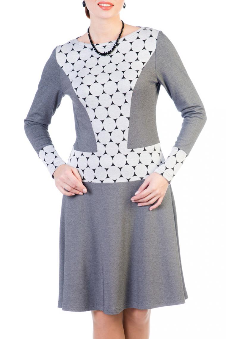 ПлатьеПлатья<br>Восхитительное платье с элегантной горловиной и длинными рукавами. Модель выполнена из приятного трикотажа. Отличный выбор для любого случая.  Ростовка изделия 164 см.  Цвет: серый, белый<br><br>Горловина: С- горловина<br>По длине: До колена<br>По материалу: Вискоза,Трикотаж<br>По рисунку: Цветные,С принтом<br>По сезону: Зима,Осень<br>По силуэту: Полуприталенные<br>По стилю: Повседневный стиль<br>По форме: Платье - трапеция<br>Рукав: Длинный рукав<br>Размер : 44,46,50<br>Материал: Трикотаж<br>Количество в наличии: 4