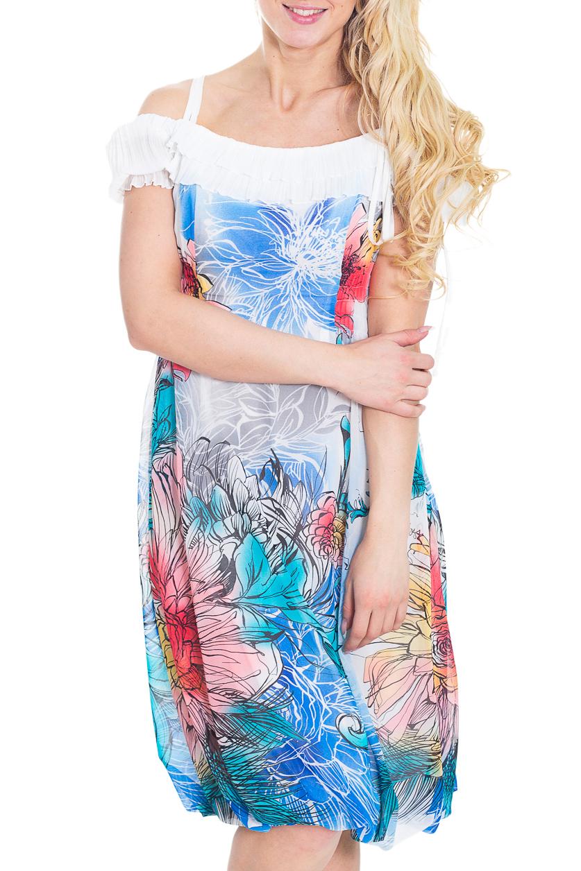 ПлатьеПлатья<br>Легкое и воздушное платье из приятного шифона. Прекрасный вариант для любого случая.  Цвет: белый, голубой, розовый  Рост девушки-фотомодели 170 см<br><br>По образу: Город,Свидание<br>По стилю: Повседневный стиль,Летний стиль,Нарядный стиль<br>По материалу: Шифон<br>По рисунку: Цветочные,Растительные мотивы,Цветные<br>По сезону: Осень,Весна,Всесезон,Зима,Лето<br>По силуэту: Свободные<br>По элементам: С воланами и рюшами,С открытыми плечами<br>По форме: Платье - баллон<br>По длине: Ниже колена<br>Рукав: Короткий рукав<br>Размер: 44<br>Материал: 100% полиэстер<br>Количество в наличии: 1