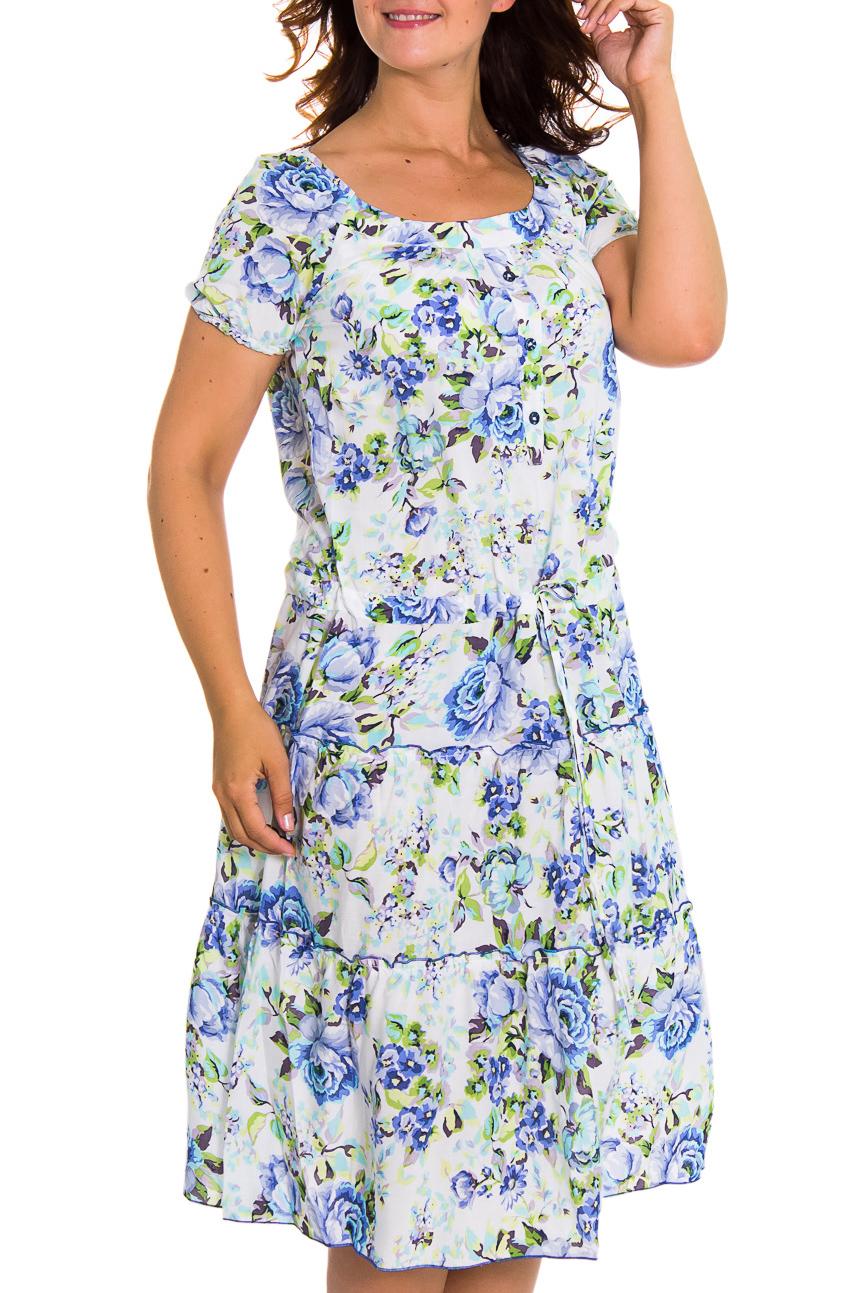ПлатьеПлатья<br>Очаровательное платье с круглой горловиной и короткими рукавами. Модель выполнена из хлопкового материала с цветочным принтом. Отличный выбор для повседневного гардероба.  Цвет: белый, синий, зеленый  Рост девушки-фотомодели 180 см.<br><br>Горловина: С- горловина<br>По длине: Ниже колена<br>По материалу: Хлопок<br>По рисунку: Растительные мотивы,Цветные,Цветочные,С принтом<br>По сезону: Лето<br>По силуэту: Полуприталенные<br>По стилю: Летний стиль,Повседневный стиль,Романтический стиль<br>Рукав: Короткий рукав<br>По форме: Платье - трапеция<br>Размер : 48<br>Материал: Хлопок<br>Количество в наличии: 1
