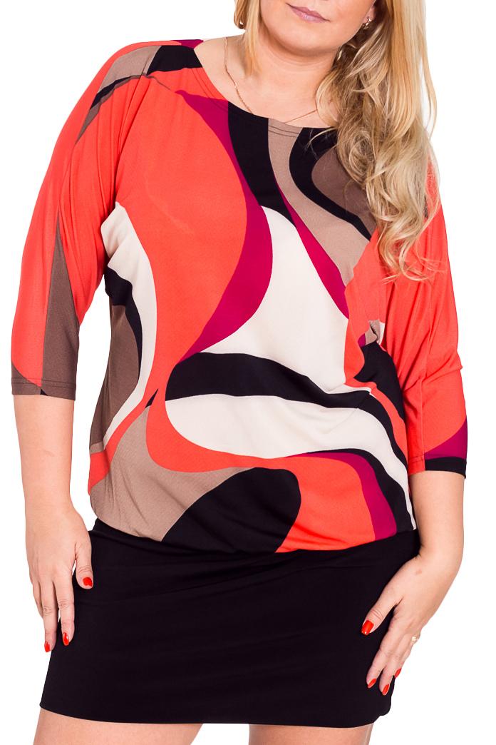 ПлатьеПлатья<br>Яркое платье с небольшим напуском, круглой горловиной и рукавами 3/4. Модель выполнена из приятного трикотажа. Отличный выбор для повседневного гардероба.  Цвет: черный, коричневый, бежевый, коралловый  Рост девушки-фотомодели 170 см<br><br>Горловина: С- горловина<br>По длине: До колена<br>По материалу: Трикотаж<br>По образу: Город,Свидание<br>По рисунку: Абстракция,Цветные<br>По сезону: Весна,Осень,Зима<br>По силуэту: Полуприталенные<br>По стилю: Повседневный стиль<br>Рукав: Рукав три четверти<br>Размер : 52<br>Материал: Трикотаж<br>Количество в наличии: 2