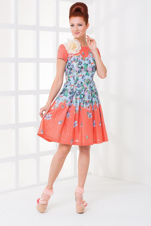 ПлатьеПлатья<br>Ищете модное в этом сезоне платье в горошек, а душа просит летнее платье в цветочек -- Ни в чем себе не отказывайте На этом очаровательном хлопковом платье прекрасно уживается и то, и другое Небольшой круглый вырез и пышная, благодаря встречным складкам, юбка добавят вашему образу милого кокетства. Платье без броши.  Цвет: оранжевый, голубой<br><br>По образу: Город,Свидание<br>По стилю: Повседневный стиль,Романтический стиль<br>По материалу: Хлопок<br>По рисунку: Цветочные,В горошек,Растительные мотивы,Цветные<br>По сезону: Всесезон,Лето<br>По силуэту: Полуприталенные<br>По форме: Беби - долл<br>По длине: До колена<br>Рукав: Короткий рукав<br>Горловина: С- горловина<br>Размер: 42,44,46,48<br>Материал: None<br>Количество в наличии: 2