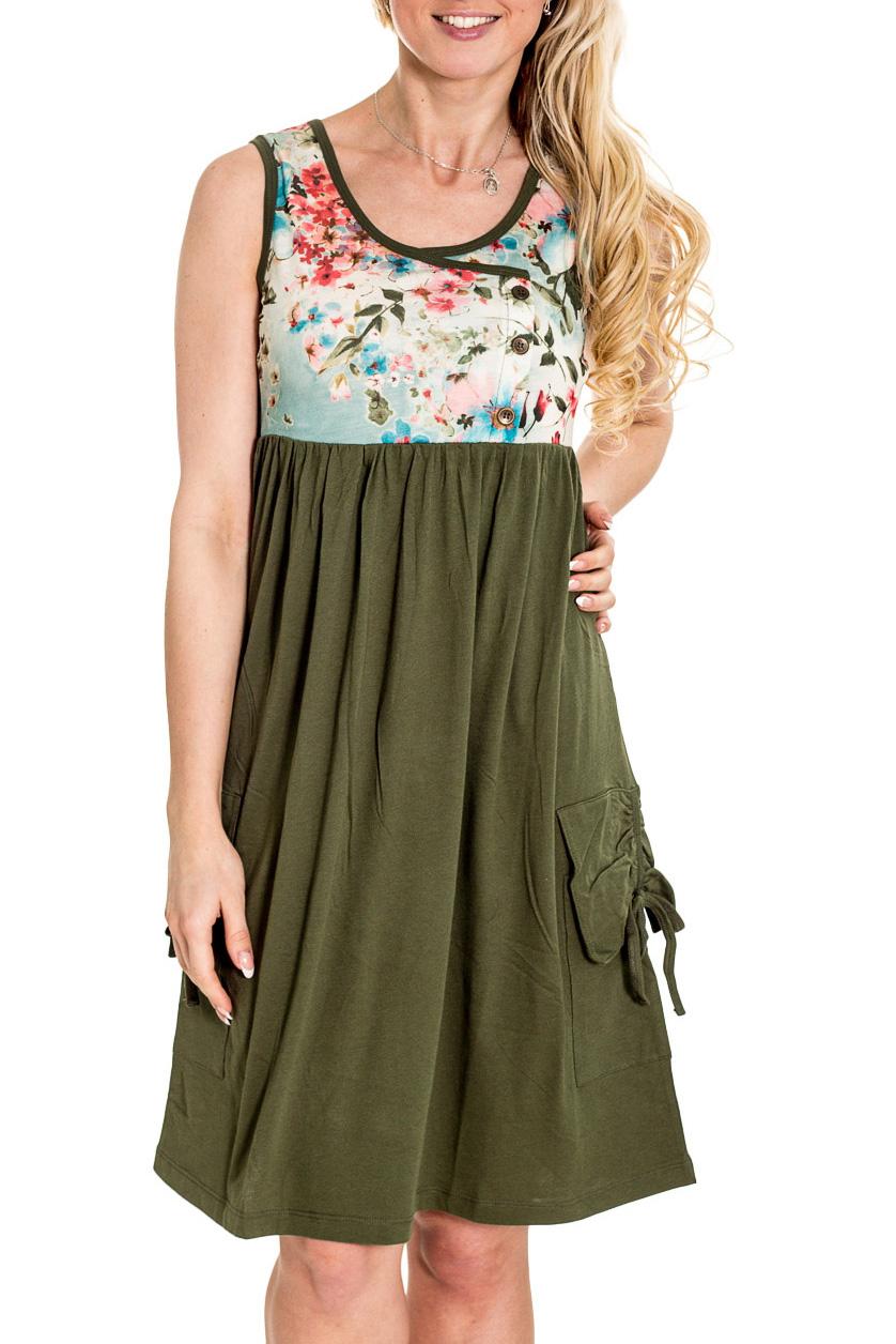 ПлатьеПлатья<br>Красивое платье без рукавов. Модель выполнена из приятного материала. Отличный выбор для повседневного гардероба.  Цвет: зеленый, голубой, белый, розовый  Рост девушки-фотомодели 170 см.<br><br>Горловина: С- горловина<br>По длине: До колена<br>По материалу: Вискоза,Трикотаж<br>По образу: Город,Свидание<br>По рисунку: Растительные мотивы,С принтом,Цветные,Цветочные<br>По силуэту: Полуприталенные<br>По стилю: Повседневный стиль<br>По форме: Платье - трапеция<br>По элементам: С декором,С завышенной талией,С карманами<br>Рукав: Без рукавов<br>По сезону: Осень,Весна<br>Размер : 44<br>Материал: Трикотаж<br>Количество в наличии: 1