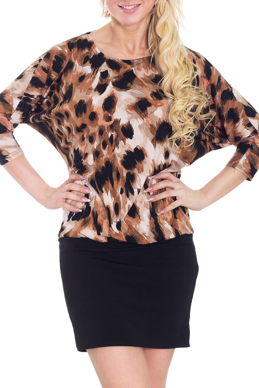 ПлатьеПлатья<br>Яркое платье с небольшим напуском, круглой горловиной и рукавами 3/4. Модель выполнена из приятного трикотажа. Отличный выбор для повседневного гардероба.  Цвет: черный, бежевый, коричневый  Рост девушки-фотомодели 170 см<br><br>Горловина: С- горловина<br>По длине: До колена<br>По материалу: Трикотаж<br>По образу: Город,Свидание<br>По рисунку: Леопард,Цветные,Животные мотивы,С принтом<br>По сезону: Весна,Осень,Зима<br>По силуэту: Полуприталенные,Свободные<br>По стилю: Повседневный стиль<br>Рукав: Рукав три четверти<br>По элементам: С заниженной талией<br>Размер : 46<br>Материал: Трикотаж<br>Количество в наличии: 1