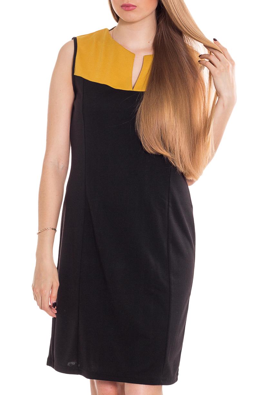 ПлатьеПлатья<br>Чудесное платье с интересной горловиной и короткими рукавами. Модель выполнена из приятного материала. Отличный выбор для повседневного гардероба.  Цвет: черный, желтый  Рост девушки-фотомодели 170 см.<br><br>По длине: До колена<br>По материалу: Трикотаж<br>По рисунку: Цветные<br>По силуэту: Приталенные,Полуприталенные<br>По стилю: Офисный стиль,Повседневный стиль,Кэжуал<br>По форме: Платье - футляр<br>Рукав: Без рукавов<br>По сезону: Весна,Осень<br>Горловина: Фигурная горловина<br>По элементам: С декором<br>Размер : 40-42,44-46<br>Материал: Трикотаж<br>Количество в наличии: 2