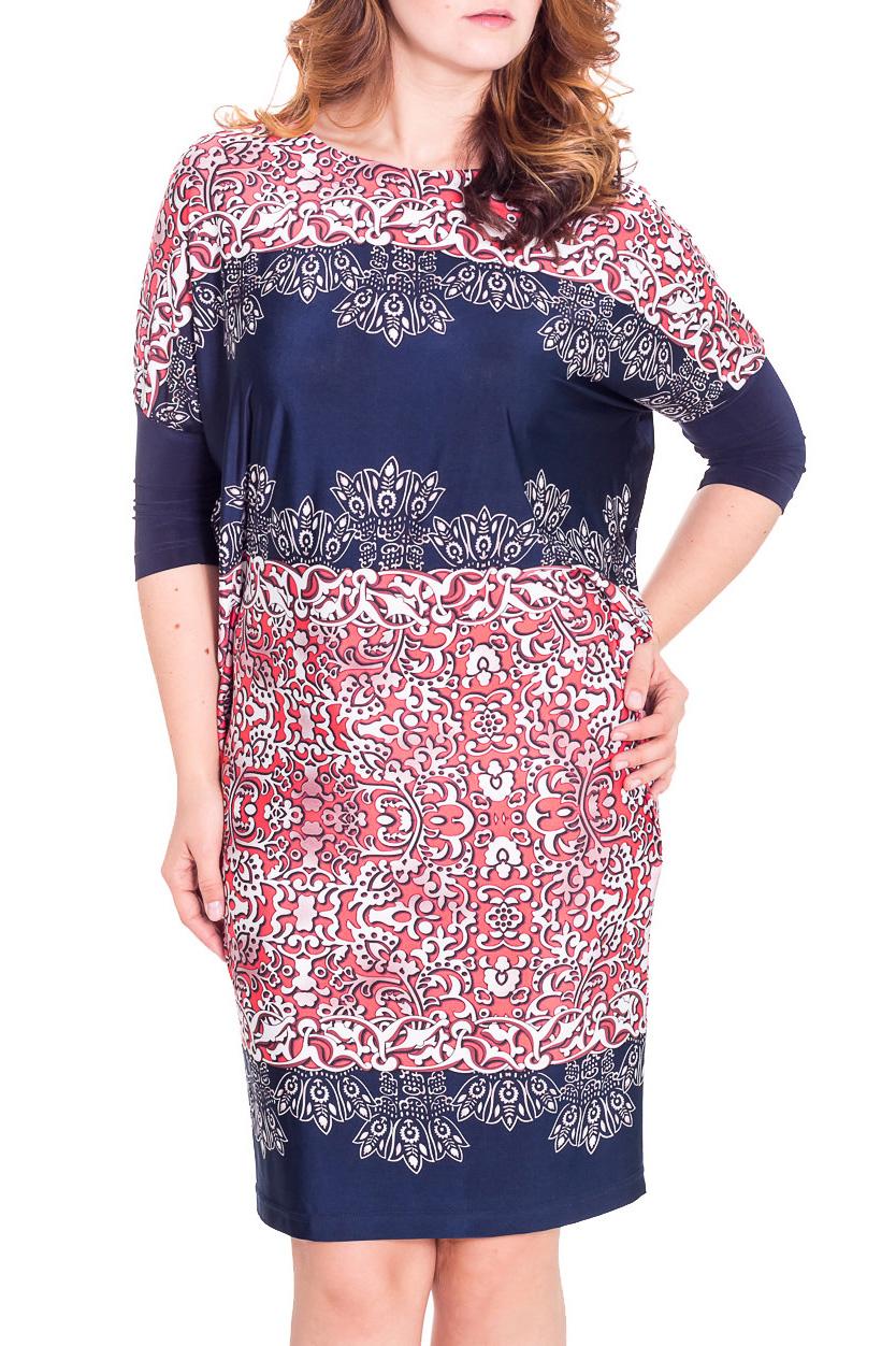 ПлатьеПлатья<br>Чудесное платье с рукавами quot;летучая мышьquot;. Модель выполнена из приятного трикотажа. Отличный выбор для повседневного гардероба.  Цвет: коралловый, синий. белый  Рост девушки-фотомодели 180 см.<br><br>Горловина: С- горловина<br>По длине: До колена<br>По материалу: Вискоза,Трикотаж<br>По рисунку: Абстракция,Цветные,С принтом<br>По сезону: Весна,Осень<br>По силуэту: Прямые<br>По стилю: Повседневный стиль<br>Рукав: Рукав три четверти<br>Размер : 48,52,54,56,58<br>Материал: Холодное масло<br>Количество в наличии: 6