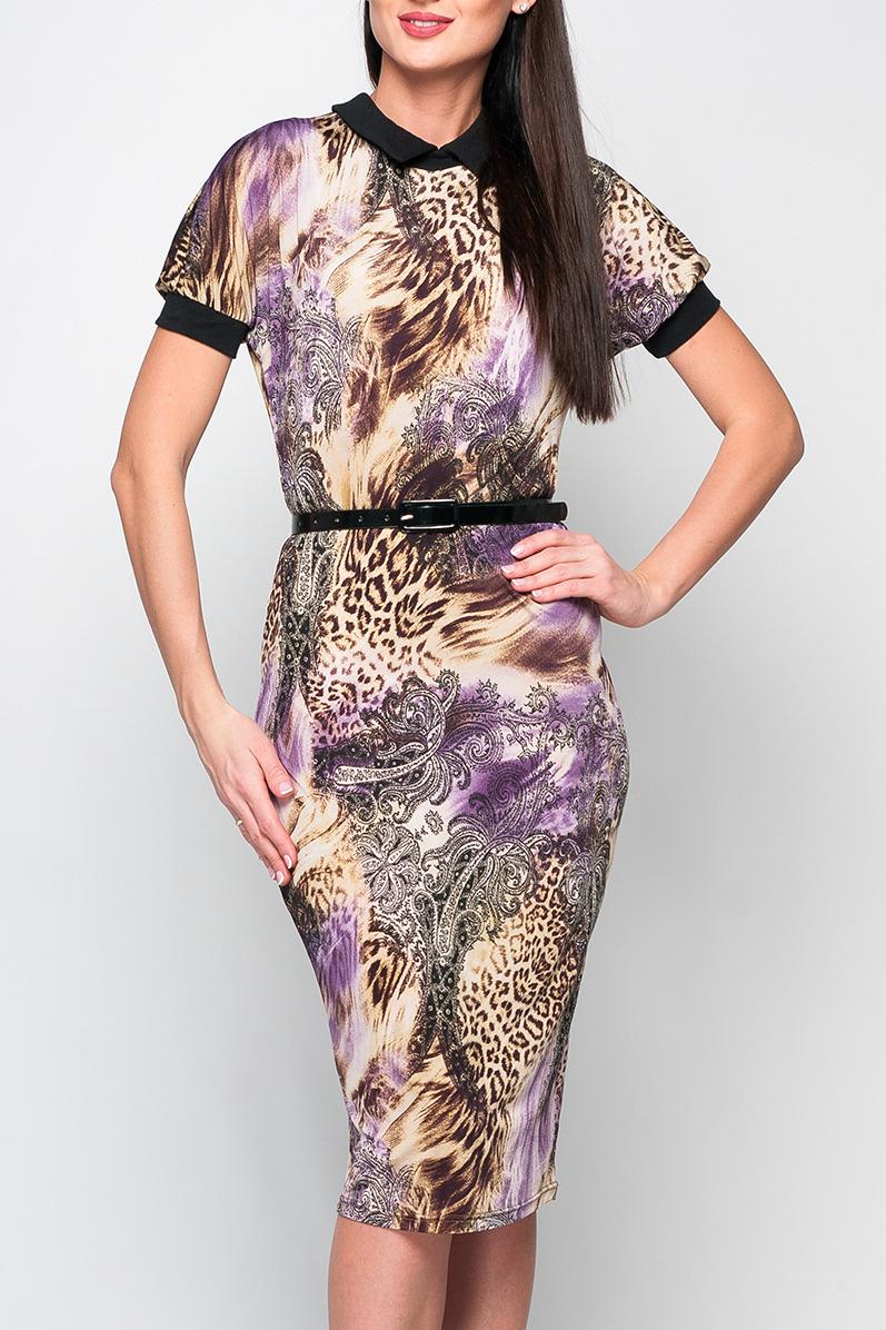 ПлатьеПлатья<br>Элегантное трикотажное платье прилегающего силуэта длиной чуть ниже колена. Модель дополнена отложным контрастным воротничком, рукава оформлены манжетами. В верхней части спины расположен разрез, дополненный застежкой на пуговицу. Принт купонный, расположение рисунка может меняться. Платье без пояса.  Параметры изделия:  44 размер: обхват груди - 90 см, обхват бедер - 90 см, длина рукава - 23 см, длина изделия - 106 см  Цвет: бежевый, сиреневый, серый  Рост девушки-фотомодели 170 см<br><br>По длине: Ниже колена<br>По материалу: Трикотаж<br>По образу: Город,Свидание<br>По рисунку: Леопард,С принтом,Цветные,Этнические<br>По сезону: Лето,Осень,Весна<br>По силуэту: Приталенные<br>По стилю: Повседневный стиль<br>По форме: Платье - футляр<br>По элементам: С манжетами<br>Рукав: Короткий рукав<br>Размер : 42,44,50<br>Материал: Холодное масло<br>Количество в наличии: 3