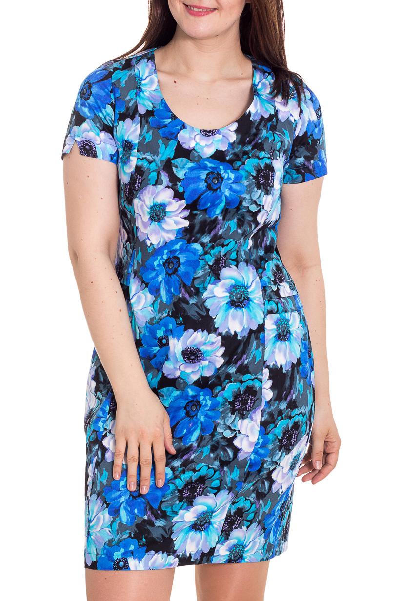 ПлатьеПлатья<br>прелестное женское платье приталенного силуэта. Модель станет основой Вашего повседневного гардероба.  Цвет: синий, голубой и др.  Рост девушки-фотомодели 180 см<br><br>Горловина: С- горловина<br>По длине: До колена<br>По материалу: Хлопок<br>По рисунку: Растительные мотивы,С принтом,Цветные,Цветочные<br>По силуэту: Приталенные<br>По стилю: Летний стиль,Повседневный стиль<br>По форме: Платье - футляр<br>По элементам: С разрезом<br>Разрез: Короткий<br>Рукав: Короткий рукав<br>По сезону: Лето<br>Размер : 48,50,52<br>Материал: Хлопок<br>Количество в наличии: 3