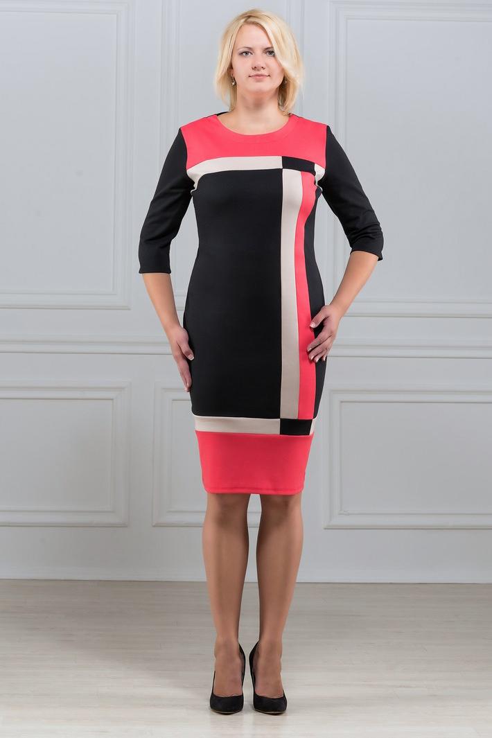 ПлатьеПлатья<br>Элегантное платье построенное на сочетании трёх контрастных цветов и ассиметричном рисунке. Классический вариант для офиса. Ткань характеризуется эластичностью, растяжимостью и мягкостью. Рукав 3/4. Плотность ткани 280 гр/м2  Длина платья 98-100 см.  В изделии использованы цвета: черный, коралловый, белый  Рост девушки-фотомодели 173 см<br><br>Горловина: С- горловина<br>По длине: Ниже колена<br>По материалу: Вискоза,Трикотаж<br>По рисунку: Цветные<br>По силуэту: Приталенные<br>По стилю: Повседневный стиль<br>По форме: Платье - футляр<br>Рукав: Рукав три четверти<br>По сезону: Осень,Весна,Зима<br>Размер : 50,52,54,56,58,60<br>Материал: Трикотаж<br>Количество в наличии: 12