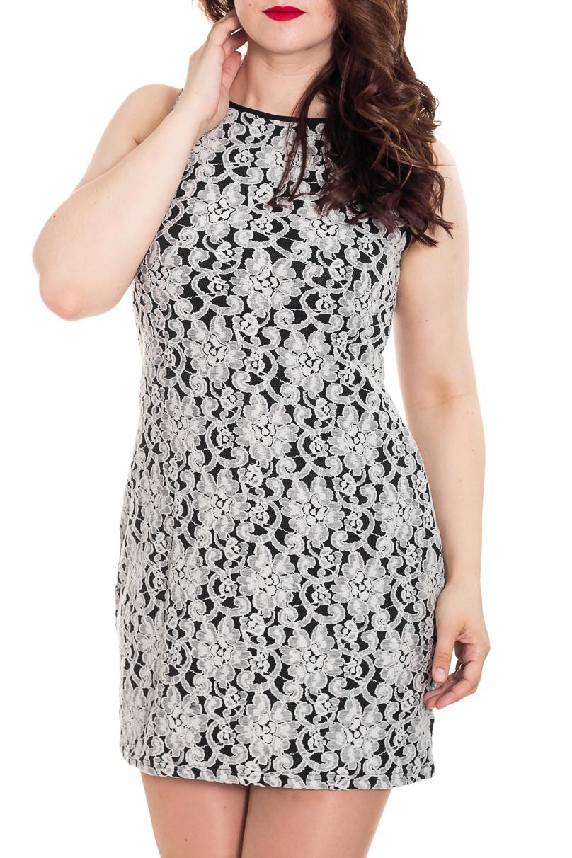 ПлатьеПлатья<br>Цветное платье без рукавов. Модель выполнена из приятного к телу трикотажа и гипюра. Отличный выбор для создания Вашего прелестного образа.  Цвет: черный, белый.  Рост девушки-фотомодели 180 см<br><br>Горловина: С- горловина<br>По длине: До колена<br>По материалу: Гипюр,Трикотаж<br>По рисунку: С принтом,Цветные<br>По силуэту: Приталенные<br>По форме: Платье - футляр<br>Рукав: Без рукавов<br>По сезону: Лето,Весна,Зима,Осень,Всесезон<br>По стилю: Нарядный стиль<br>Размер : 44-46,48-50<br>Материал: Трикотаж + Гипюр<br>Количество в наличии: 2