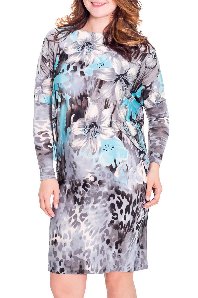 ПлатьеПлатья<br>Чудесное платье с рукавами quot;летучая мышьquot;. Модель выполнена из приятного трикотажа. Отличный выбор для повседневного гардероба.  Цвет: серый, голубой  Рост девушки-фотомодели 180 см.<br><br>По длине: До колена<br>По материалу: Вискоза,Трикотаж<br>По рисунку: Растительные мотивы,Цветные,Цветочные,Леопард,С принтом<br>По сезону: Весна,Осень<br>По силуэту: Полуприталенные<br>По стилю: Повседневный стиль<br>Рукав: Длинный рукав<br>Горловина: Лодочка<br>По форме: Платье - футляр<br>Размер : 48<br>Материал: Холодное масло<br>Количество в наличии: 1
