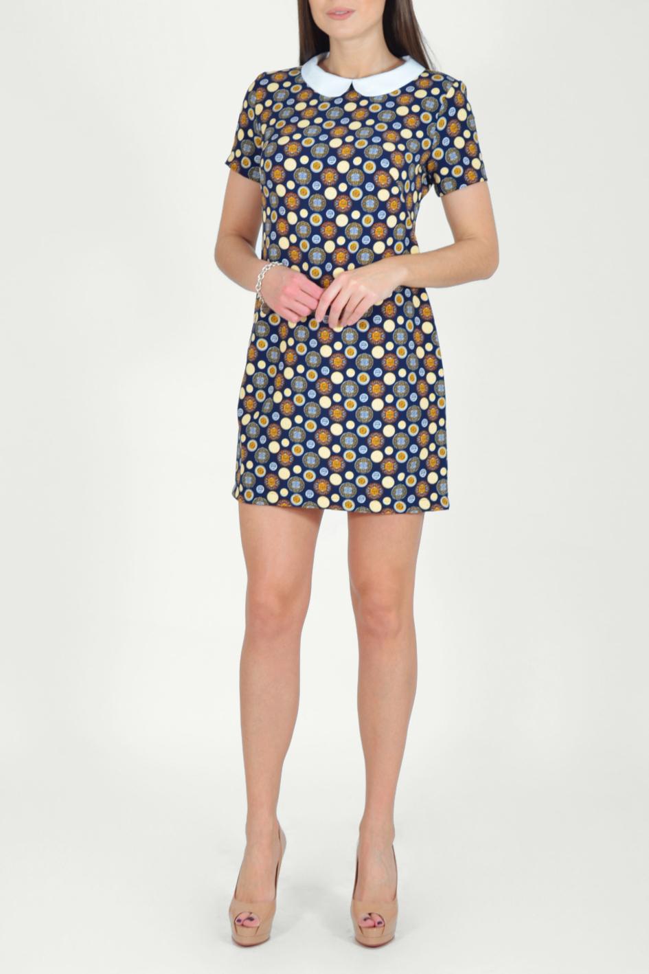 ПлатьеПлатья<br>Цветное платье с контрастным воротничком и короткими рукавами. Модель выполнена из мягкой вискозы. Отличный выбор для повседневного гардероба.  Длина изделия по спинке до 48 размера - 85 см., от 48 размера - 93 см.  В изделии использованы цвета: синий, оранжевый, желтый, белый и др.  Рост девушки-фотомодели 170 см.  Параметры размеров: 42 размер - обхват груди 84 см., обхват талии 66 см., обхват бедер 92 см. 44 размер - обхват груди 88 см., обхват талии 70 см., обхват бедер 96 см. 46 размер - обхват груди 92 см., обхват талии 74 см., обхват бедер 100 см. 48 размер - обхват груди 96 см., обхват талии 78 см., обхват бедер 104 см. 50 размер - обхват груди 100 см., обхват талии 82 см., обхват бедер 108 см. 52 размер - обхват груди 104 см., обхват талии 86 см., обхват бедер 112 см. 54 размер - обхват груди 108 см., обхват талии 91 см., обхват бедер 116 см. 56 размер - обхват груди 112 см., обхват талии 95 см., обхват бедер 120 см. 58 размер - обхват груди 116 см., обхват талии 100 см., обхват бедер 124 см. 60 размер - обхват груди 120 см., обхват талии 105 см., обхват бедер 128 см.<br><br>Воротник: Отложной<br>По длине: До колена,Мини<br>По материалу: Тканевые<br>По рисунку: В горошек,С принтом,Цветные<br>По силуэту: Полуприталенные<br>По стилю: Повседневный стиль<br>По форме: Платье - футляр<br>По элементам: С воротником<br>Рукав: Короткий рукав<br>По сезону: Осень,Весна<br>Размер : 44,46,48,50<br>Материал: Плательная ткань<br>Количество в наличии: 7