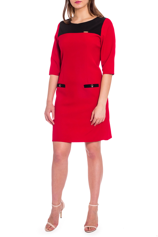 ПлатьеПлатья<br>Красное платье с контрастной отделкой. Модель выполнена из приятного материала. Отличный выбор для любого случая.  В изделии использованы цвета: красный, черный  Рост девушки-фотомодели 173 см.<br><br>Горловина: С- горловина<br>По длине: До колена<br>По материалу: Тканевые<br>По рисунку: Однотонные<br>По силуэту: Приталенные<br>По стилю: Повседневный стиль<br>По элементам: С декором<br>Рукав: Рукав три четверти<br>По сезону: Осень,Весна<br>Размер : 54,60<br>Материал: Плательная ткань<br>Количество в наличии: 2