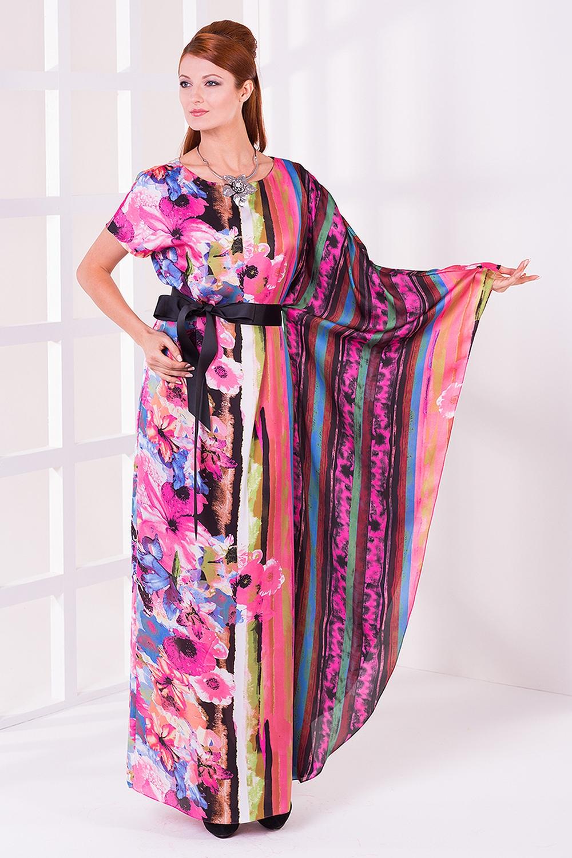ПлатьеПлатья<br>Интересное женское платье из гладкого атласа с ярким принтом. Отличный выбор для любого торжества.  Цвет: розовый, сиреневый, голубой<br><br>По образу: Выход в свет,Свидание<br>По стилю: Нарядный стиль<br>По материалу: Атлас,Вискоза<br>По рисунку: В полоску,Цветные,Цветочные<br>По сезону: Зима,Лето,Осень,Весна,Всесезон<br>По силуэту: Свободные<br>По элементам: С декором<br>По длине: Макси<br>Рукав: Длинный рукав,Короткий рукав<br>Горловина: С- горловина<br>Размер: 42,44,46<br>Материал: None<br>Количество в наличии: 1