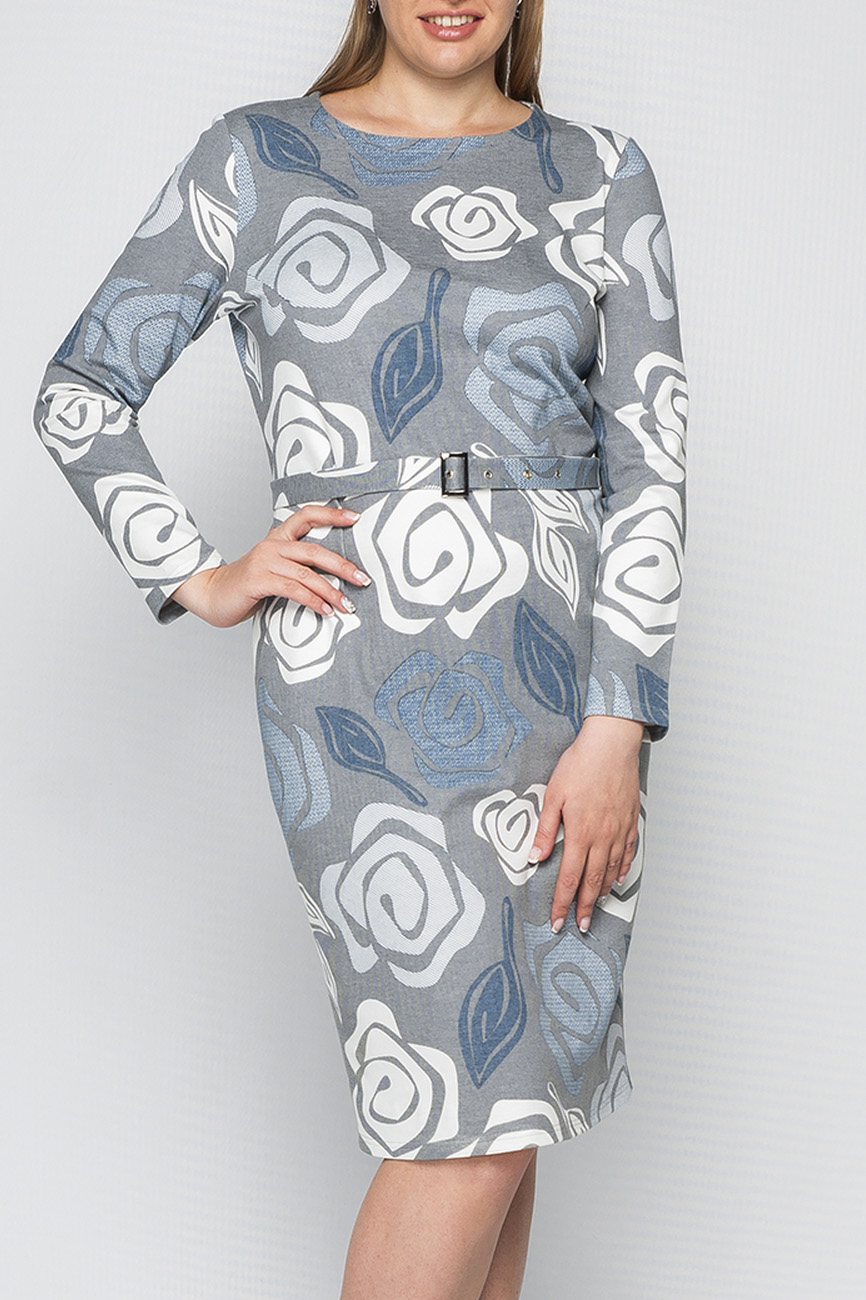 ПлатьеПлатья<br>Платье женское из трикотажа, прямого, полуприлегающего силуэта. Рукав втачной, длинный. Горловина круглая, обработана обтачкой. Платье без пояса.  Параметры изделия:  44 размер: обхват груди - 88 см, обхват бедер - 94 см, длина изделия -97 см;  52 размер: обхват груди 106 см, обхват бедер - 108 см, длина изделия - 102 см.  В изделии использованы цвета: серый, белый, голубой  Рост девушки-фотомодели 170 см.<br><br>Горловина: С- горловина<br>По длине: До колена<br>По материалу: Трикотаж<br>По образу: Город,Свидание<br>По рисунку: Растительные мотивы,С принтом,Цветные,Цветочные<br>По сезону: Весна,Осень,Зима<br>По силуэту: Полуприталенные<br>По стилю: Повседневный стиль<br>По форме: Платье - футляр<br>По элементам: С разрезом<br>Разрез: Короткий<br>Рукав: Длинный рукав<br>Размер : 46<br>Материал: Джерси<br>Количество в наличии: 1