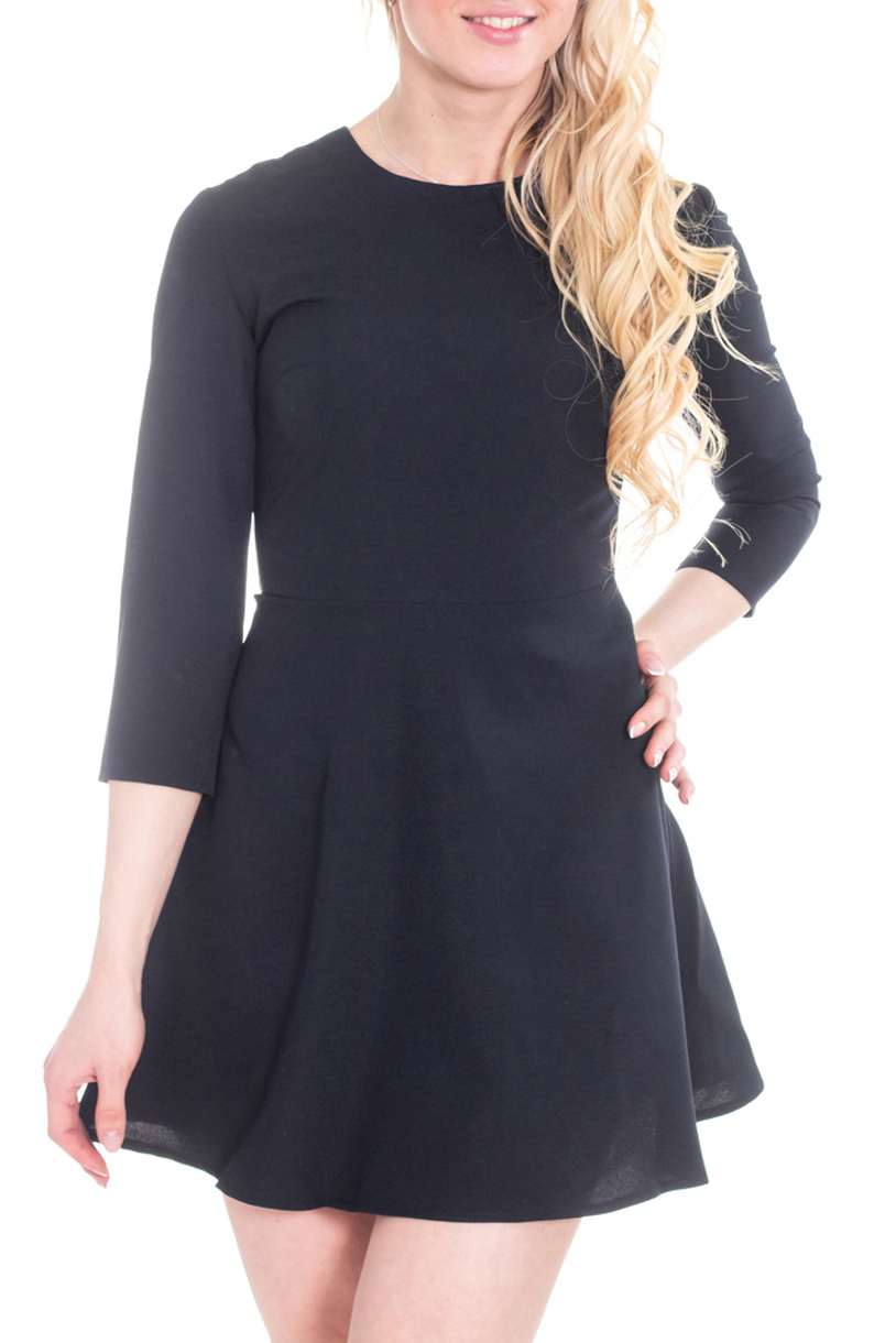 ПлатьеПлатья<br>Классика и элегантность - это залог успеха для создания Вашего повседневного образа. Дополните это стильное платье модными аксессуарами и завершите образ успешной женщины  Цвет: темно-синий.  Рост девушки-фотомодели 170 см<br><br>Горловина: С- горловина<br>По длине: Мини<br>По материалу: Тканевые<br>По рисунку: Однотонные<br>По силуэту: Полуприталенные,Приталенные<br>По стилю: Офисный стиль,Повседневный стиль<br>По форме: Платье - трапеция<br>Рукав: Рукав три четверти<br>По сезону: Осень,Весна,Зима<br>Размер : 44,46,48<br>Материал: Плательная ткань<br>Количество в наличии: 3