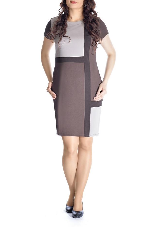 ПлатьеПлатья<br>Повседневное и в тоже время элегантное платье-футляр. Контрастные вставки платья подчеркивают силуэт. Рукава 3/4. Вырез горловины округлый.   В изделии использованы цвета: коричневый, бежевый  Рост девушки-фотомодели 170 см<br><br>Горловина: С- горловина<br>По длине: До колена<br>По материалу: Вискоза<br>По образу: Город<br>По рисунку: Цветные<br>По силуэту: Приталенные<br>По стилю: Повседневный стиль<br>По форме: Платье - футляр<br>Рукав: Рукав три четверти<br>По сезону: Осень,Весна<br>Размер : 46,48,50,52<br>Материал: Жаккард<br>Количество в наличии: 8