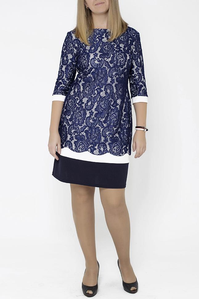ПлатьеПлатья<br>Женственное платье для вечернего выхода, комбинированное. Основаная ткань-креп стреч, верх и рукава дублированы нежнейшим гипюром. Очень красивое и удобное.  В изделии использованы цвета: синий, белый  Параметры размеров: 44 размер - обхват груди 84 см., обхват талии 72 см., обхват бедер 97 см. 46 размер - обхват груди 92 см., обхват талии 76 см., обхват бедер 100 см. 48 размер - обхват груди 96 см., обхват талии 80 см., обхват бедер 103 см. 50 размер - обхват груди 100 см., обхват талии 84 см., обхват бедер 106 см. 52 размер - обхват груди 104 см., обхват талии 88 см., обхват бедер 109 см. 54 размер - обхват груди 110 см., обхват талии 94,5 см., обхват бедер 114 см. 56 размер - обхват груди 116 см., обхват талии 101 см., обхват бедер 119 см. 58 размер - обхват груди 122 см., обхват талии 107,5 см., обхват бедер 124 см. 60 размер - обхват груди 128 см., обхват талии 114 см., обхват бедер 129 см.  Ростовка изделия 168 см.<br><br>Горловина: С- горловина<br>По длине: До колена<br>По материалу: Гипюр,Трикотаж<br>По рисунку: Растительные мотивы,С принтом,Цветные,Цветочные<br>По силуэту: Приталенные<br>По стилю: Нарядный стиль,Повседневный стиль<br>По форме: Платье - футляр<br>Рукав: Рукав три четверти<br>По сезону: Осень,Весна,Зима<br>Размер : 48<br>Материал: Трикотаж + Гипюр<br>Количество в наличии: 1