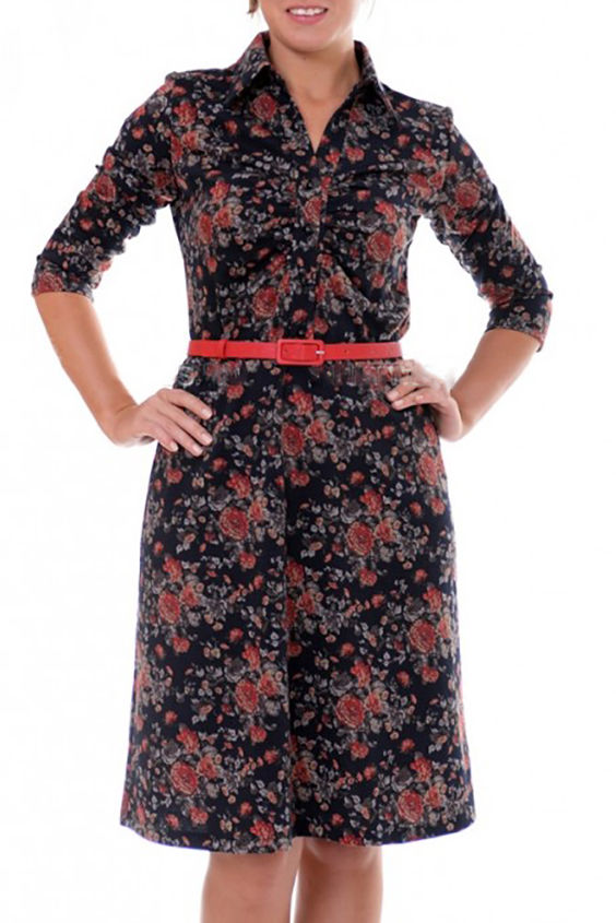 ПлатьеПлатья<br>Это платье предназначено для женщин, которые выбирают динамичный и современный стиль, ориентируясь не только на красоту одежды. Платье дополнено поясом.  Цвет: синий, коралловый  Рост девушки-фотомодели 170 см  Параметры изделия в размере 50: Обхват груди - 104 см., обхват талии - 96 см., обхват бедер - 120 см<br><br>Воротник: Рубашечный<br>Горловина: V- горловина<br>По длине: До колена<br>По материалу: Вискоза,Трикотаж<br>По рисунку: Растительные мотивы,Цветные,Цветочные,С принтом<br>По сезону: Весна,Осень,Зима<br>По силуэту: Полуприталенные<br>По стилю: Повседневный стиль<br>По форме: Платье - трапеция<br>Рукав: Рукав три четверти<br>Размер : 42<br>Материал: Джерси<br>Количество в наличии: 1